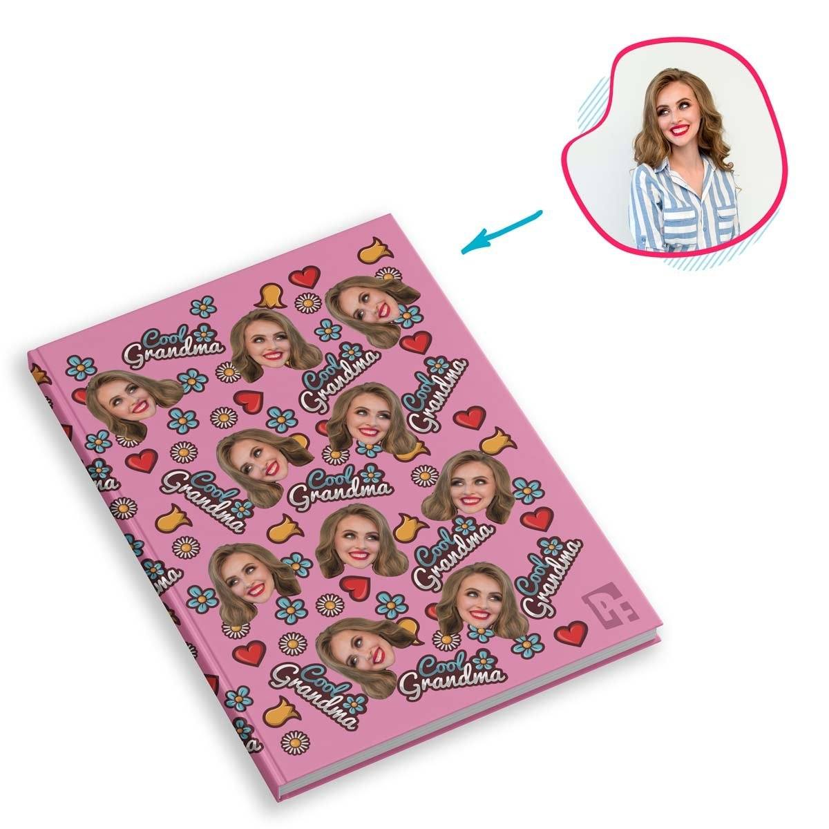 pink Cool Grandmother Notebook personalized with photo of face printed on them