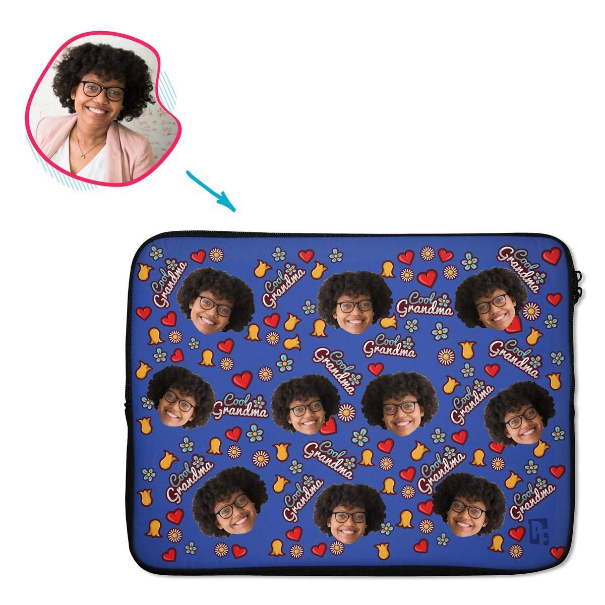 darkblue Cool Grandmother laptop sleeve personalized with photo of face printed on them