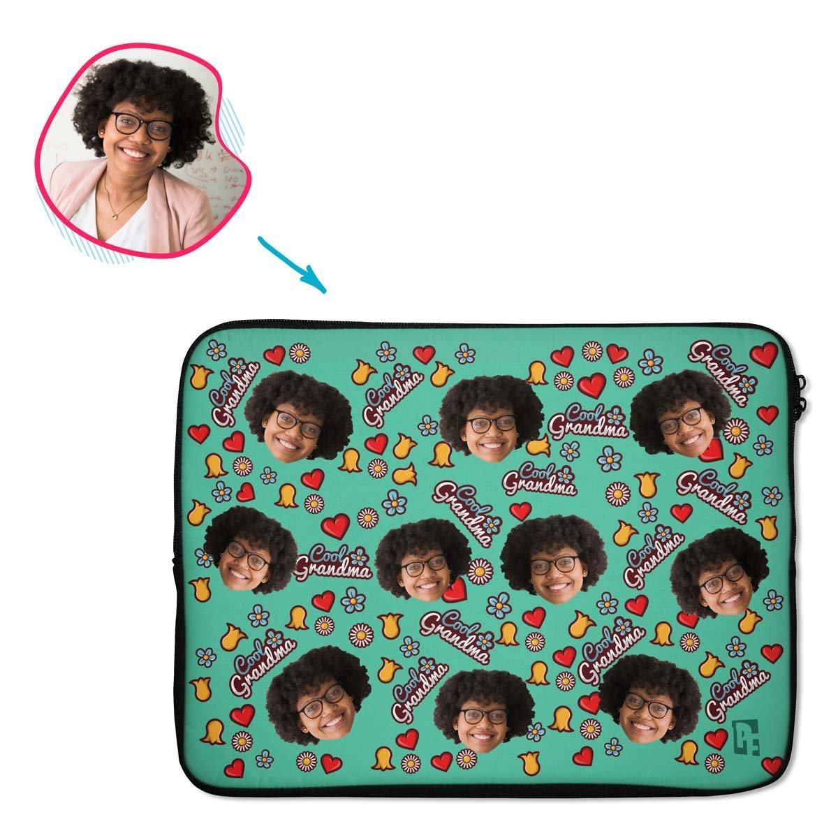 mint Cool Grandmother laptop sleeve personalized with photo of face printed on them