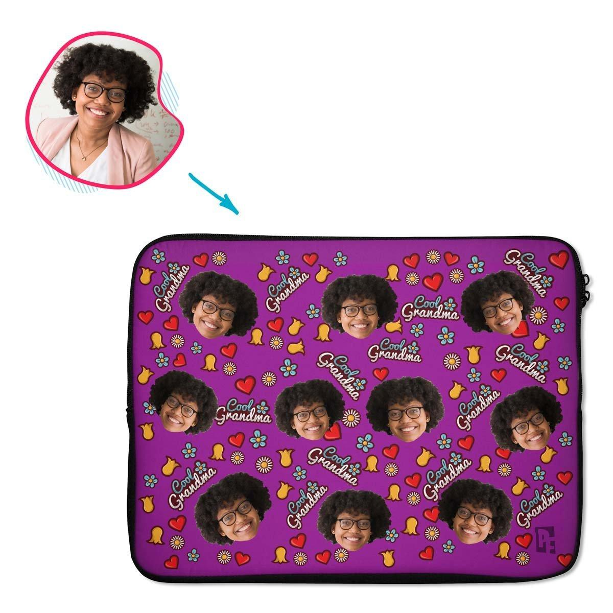 purple Cool Grandmother laptop sleeve personalized with photo of face printed on them