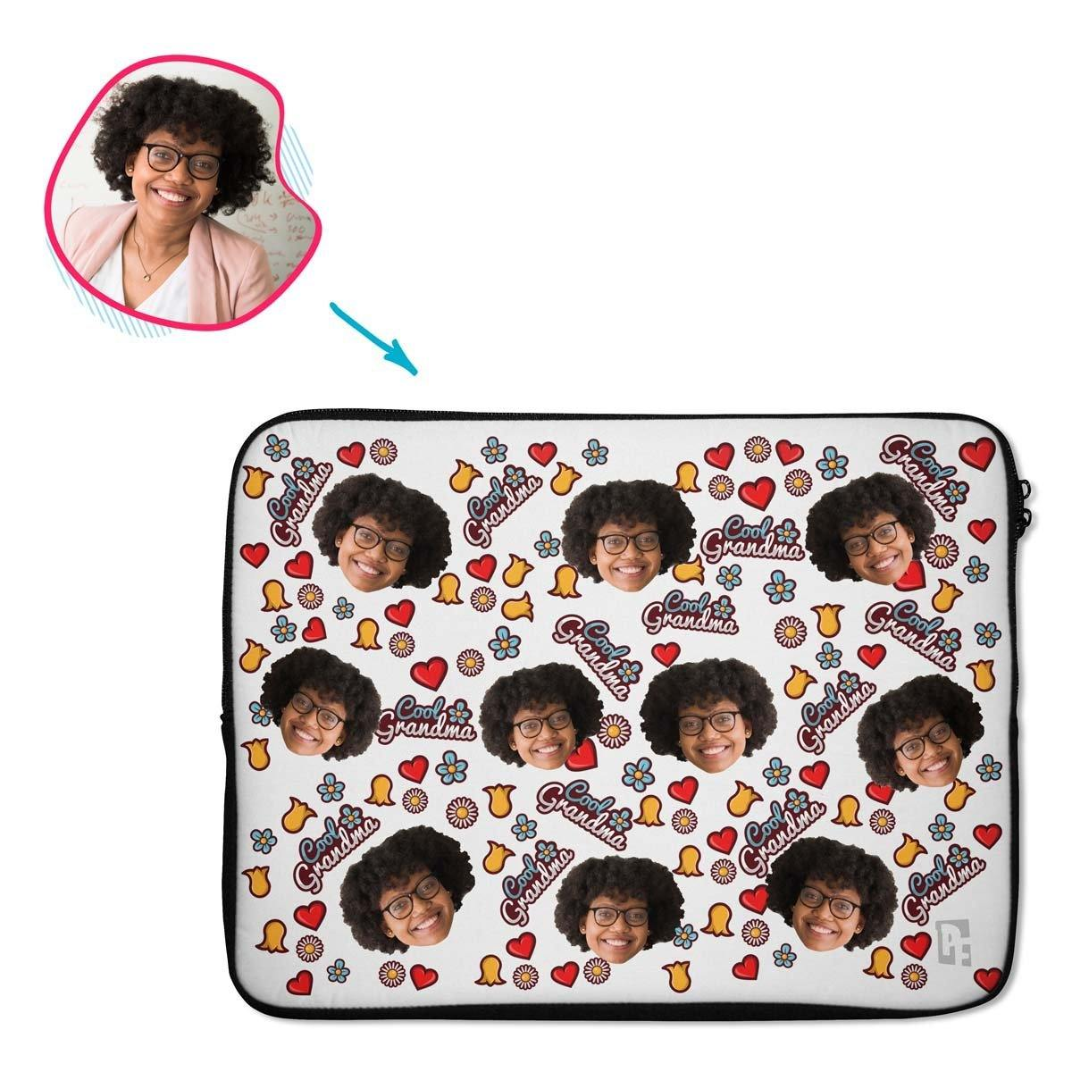 white Cool Grandmother laptop sleeve personalized with photo of face printed on them