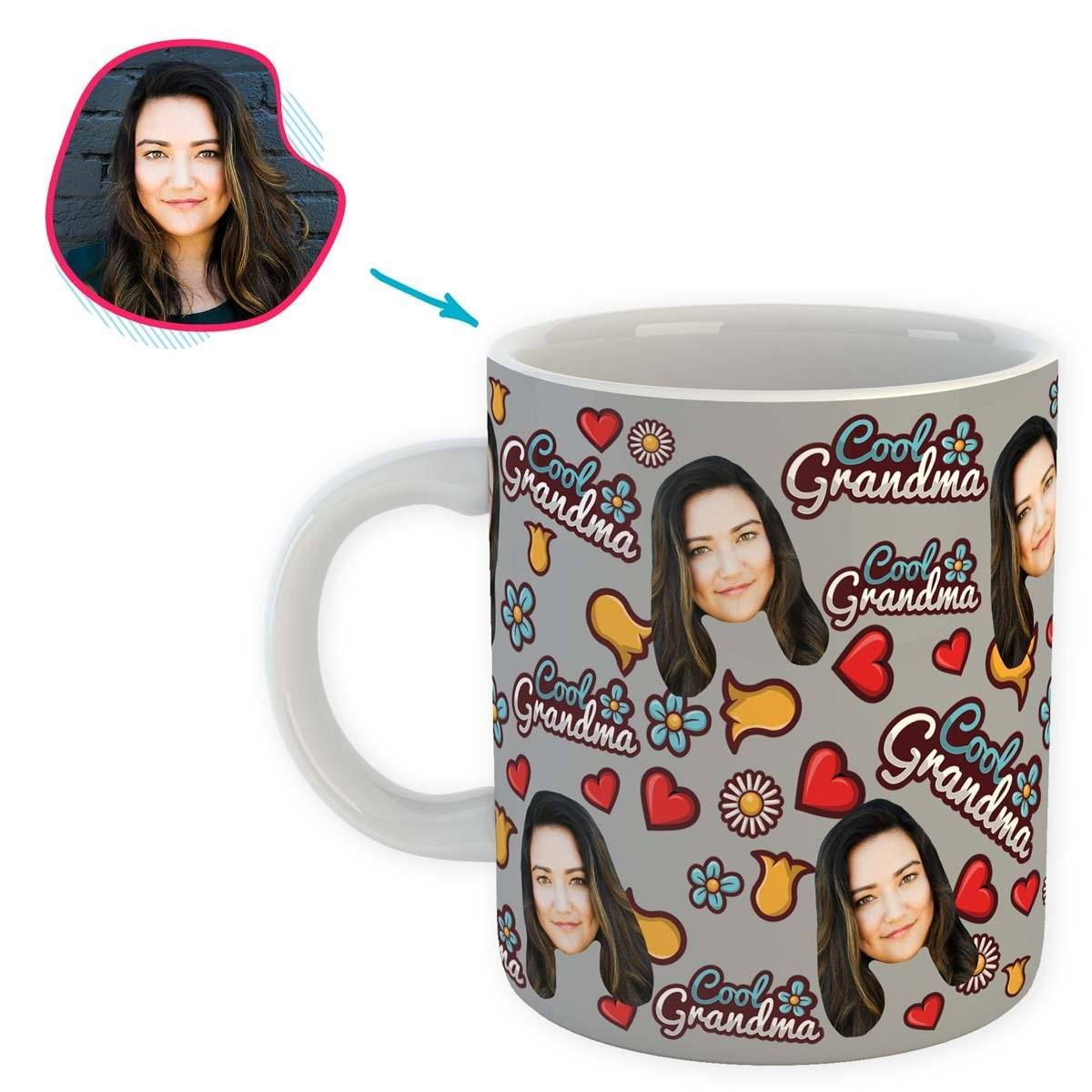 grey Cool Grandmother mug personalized with photo of face printed on it