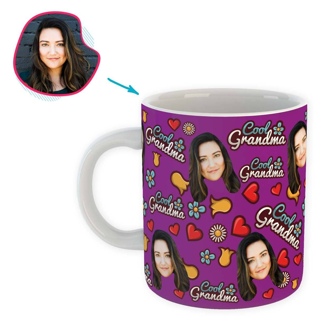 purple Cool Grandmother mug personalized with photo of face printed on it