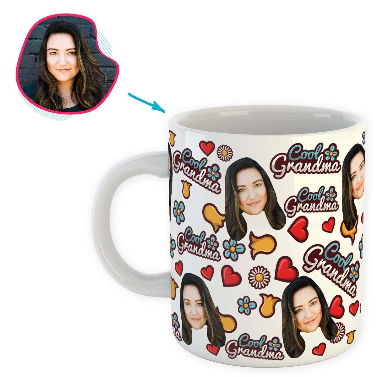 white Cool Grandmother mug personalized with photo of face printed on it