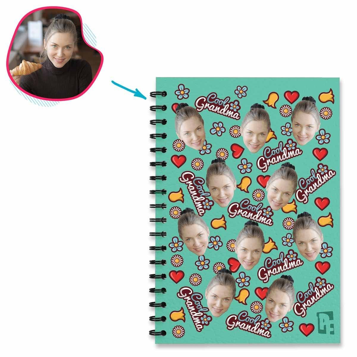 mint Cool Grandmother Notebook personalized with photo of face printed on them