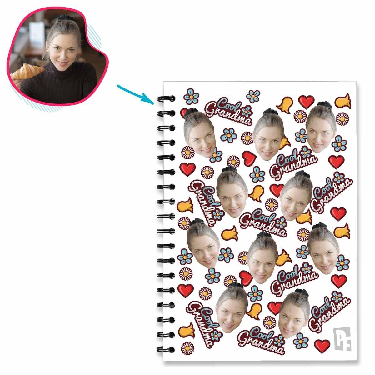 white Cool Grandmother Notebook personalized with photo of face printed on them