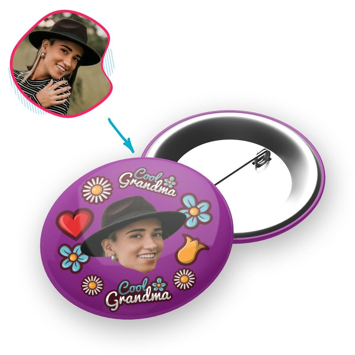 purple Cool Grandmother pin personalized with photo of face printed on it