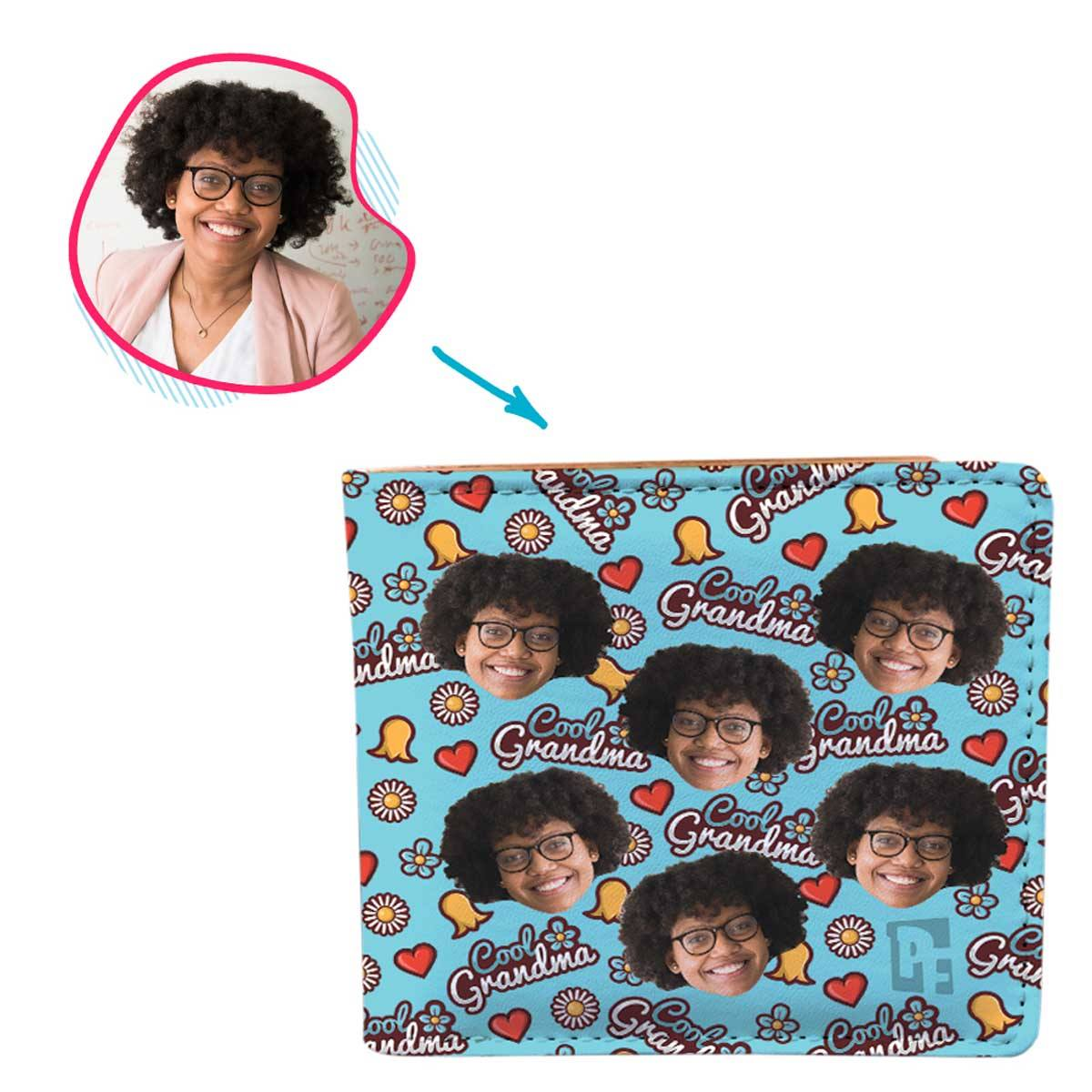 blue Cool Grandmother wallet personalized with photo of face printed on it