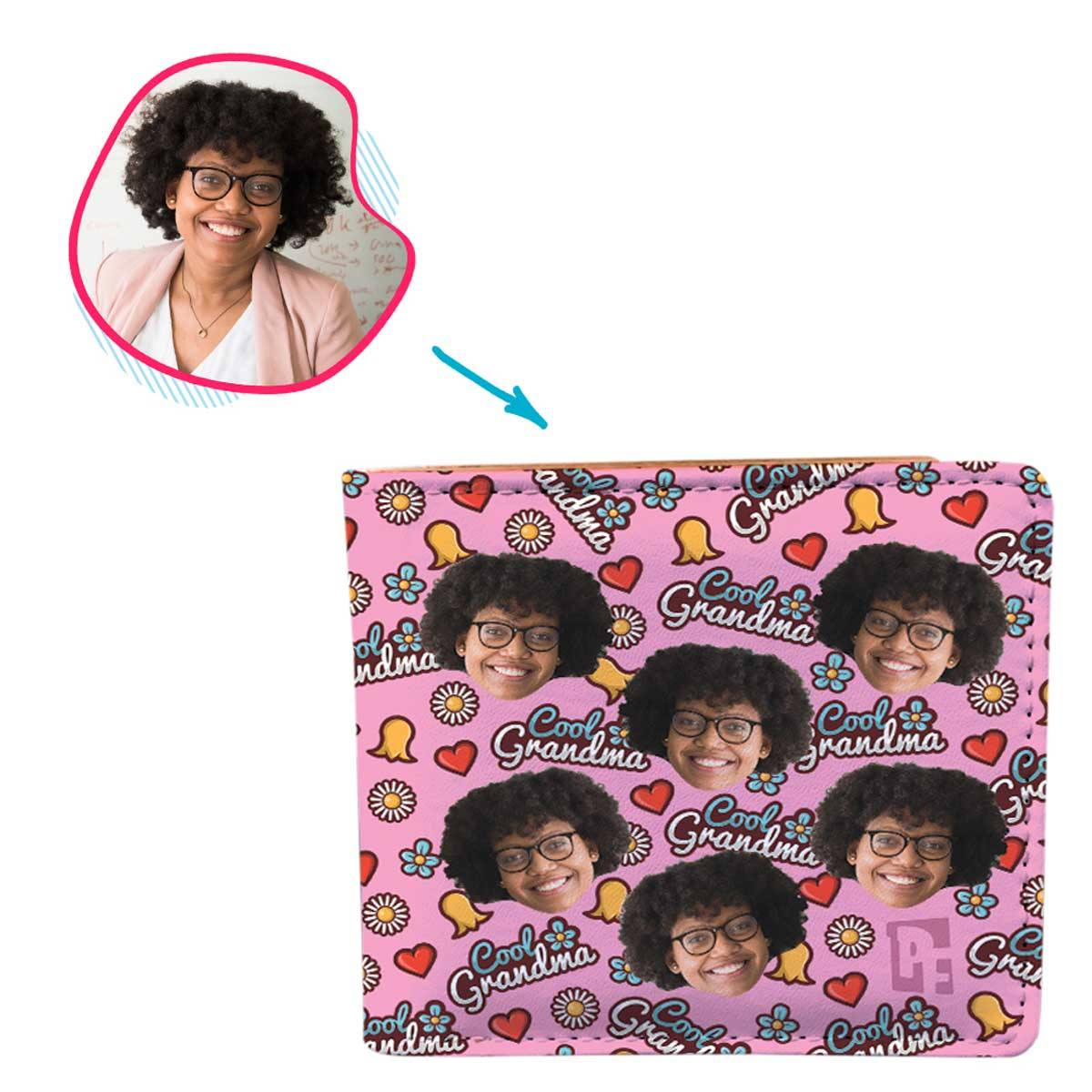 pink Cool Grandmother wallet personalized with photo of face printed on it