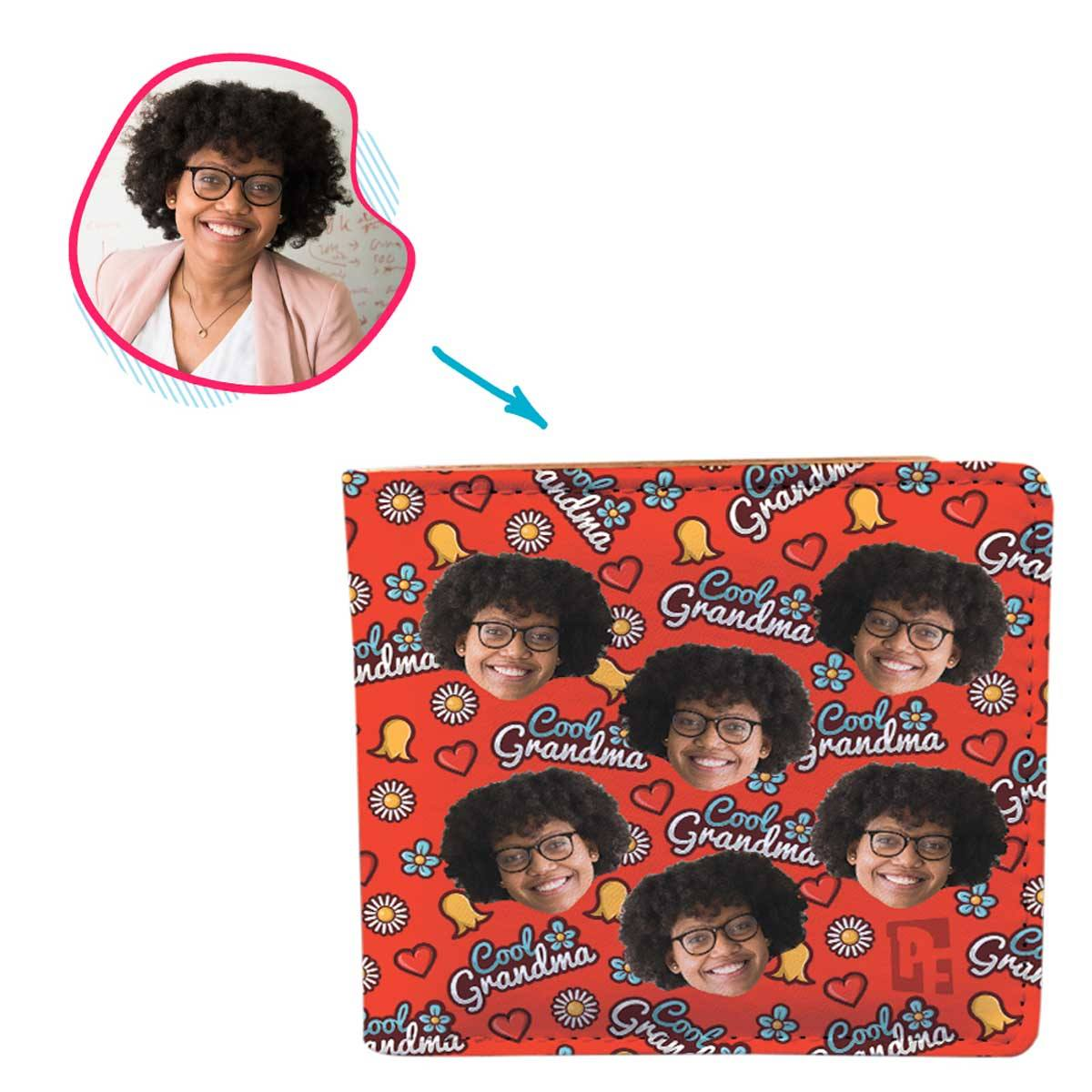 red Cool Grandmother wallet personalized with photo of face printed on it