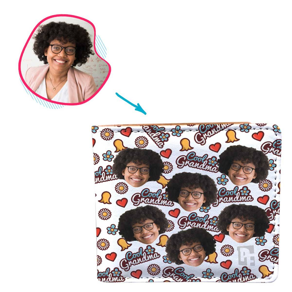 white Cool Grandmother wallet personalized with photo of face printed on it