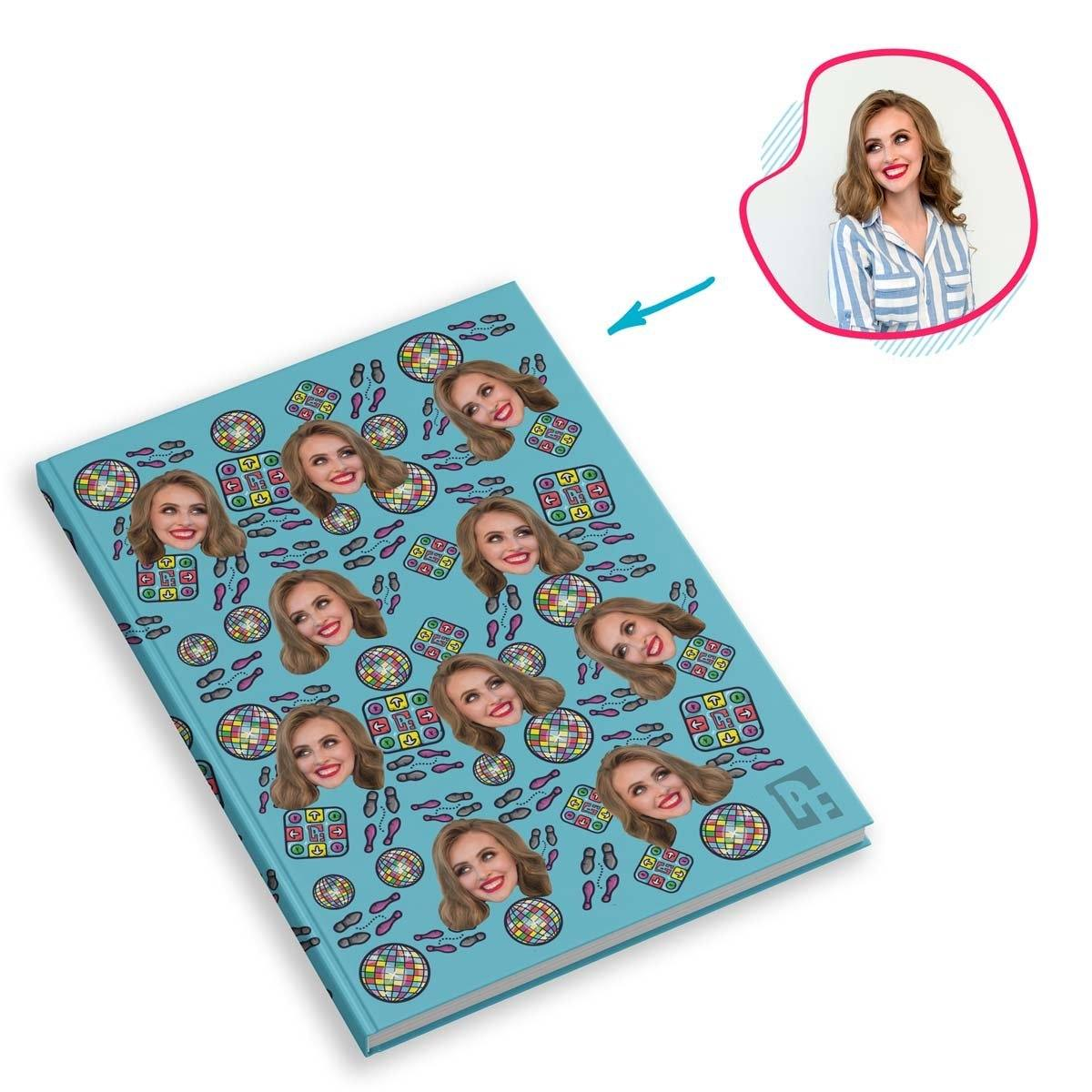 blue Dancing Notebook personalized with photo of face printed on them