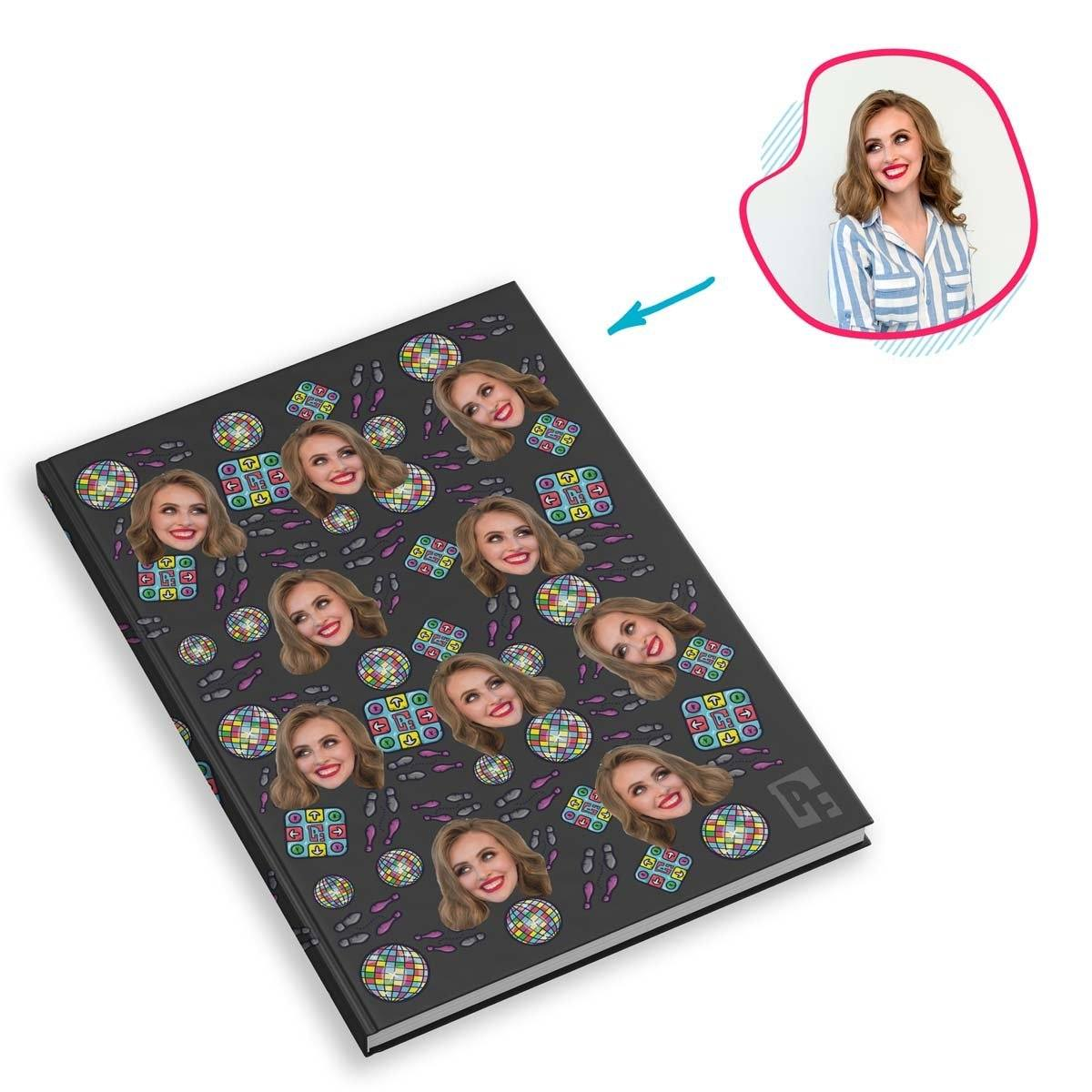dark Dancing Notebook personalized with photo of face printed on them