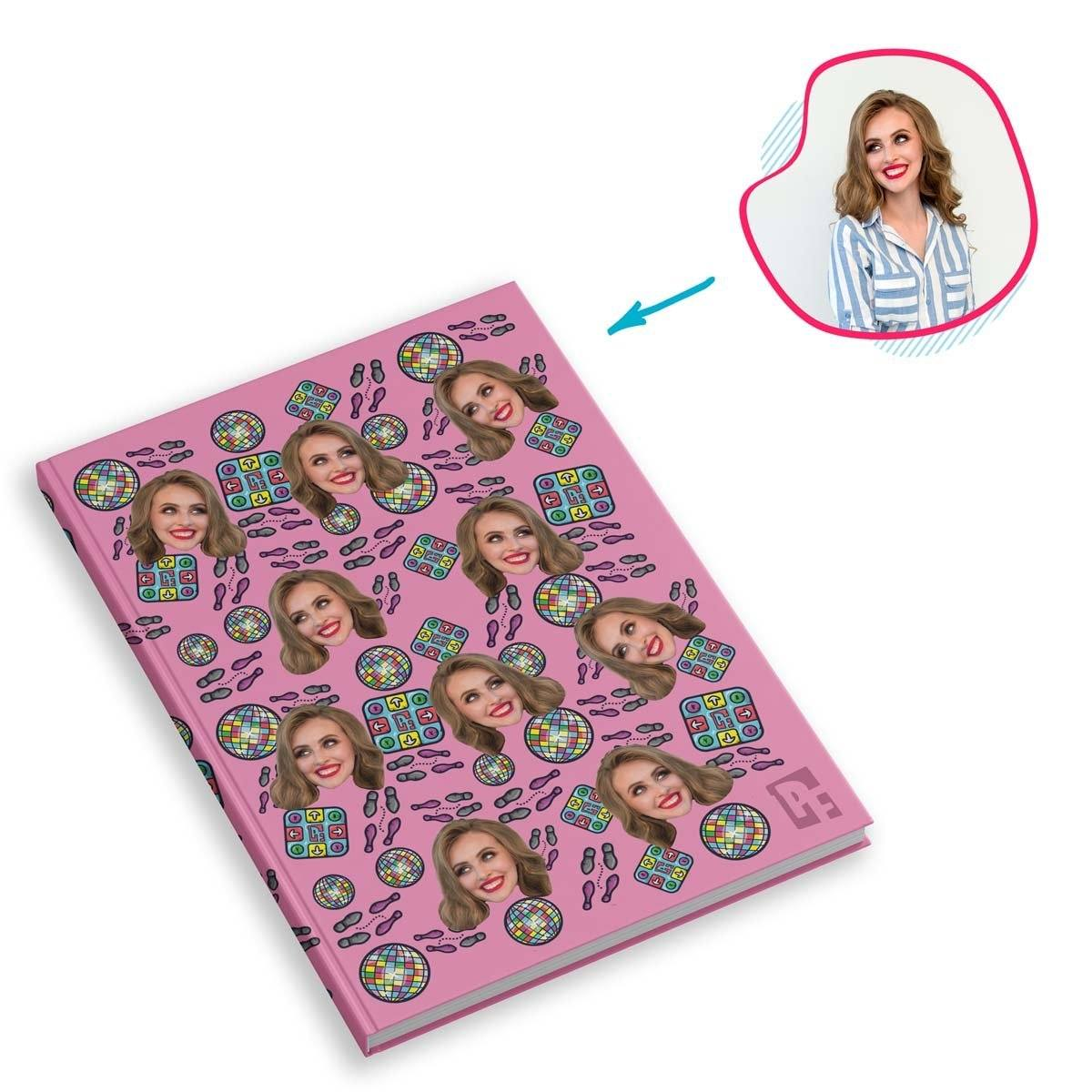 pink Dancing Notebook personalized with photo of face printed on them
