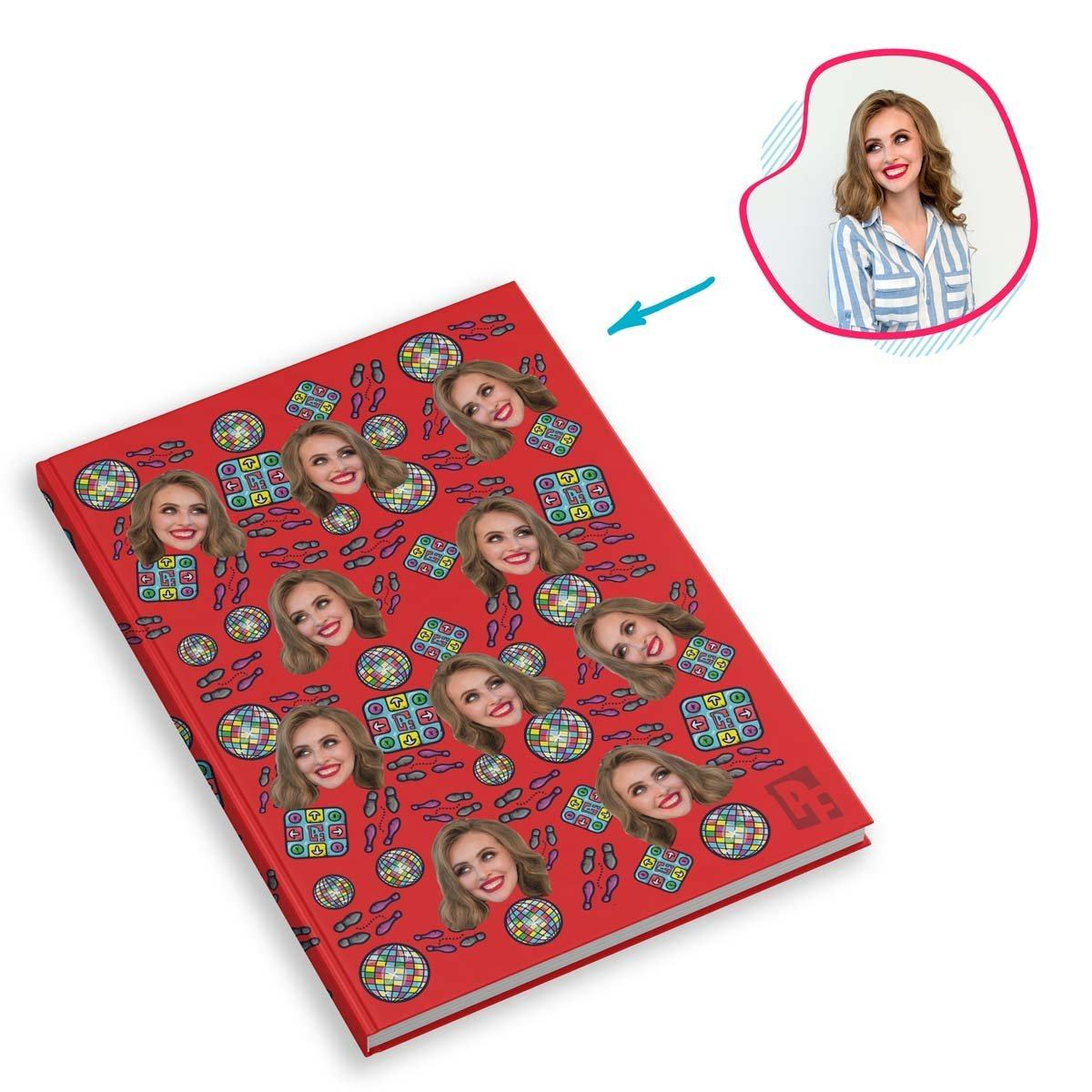 red Dancing Notebook personalized with photo of face printed on them
