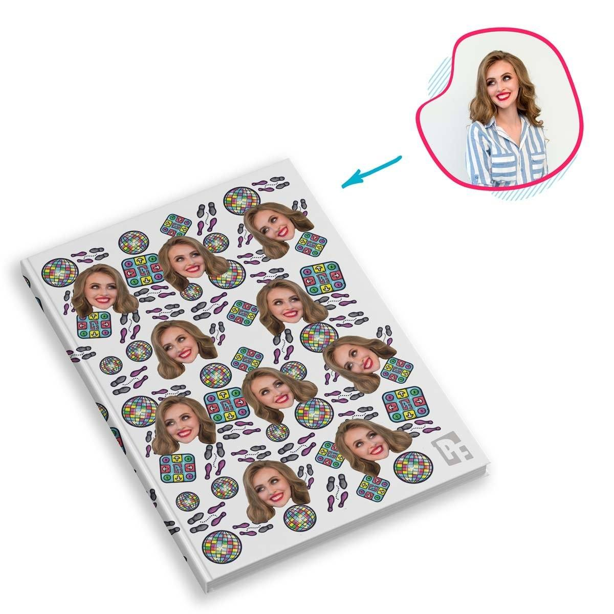 white Dancing Notebook personalized with photo of face printed on them