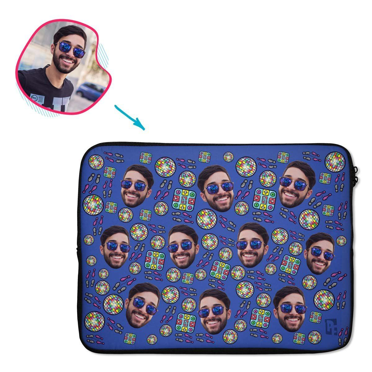 darkblue Dancing laptop sleeve personalized with photo of face printed on them