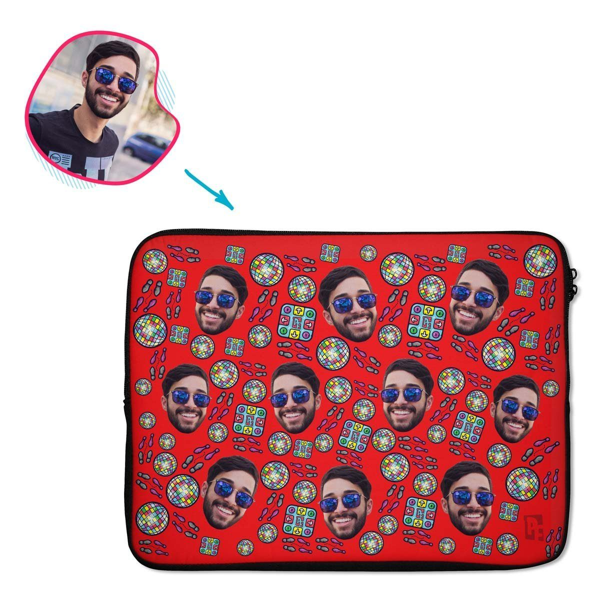 red Dancing laptop sleeve personalized with photo of face printed on them