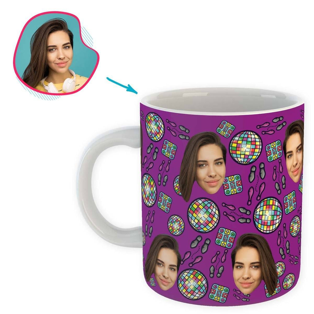 purple Dancing mug personalized with photo of face printed on it