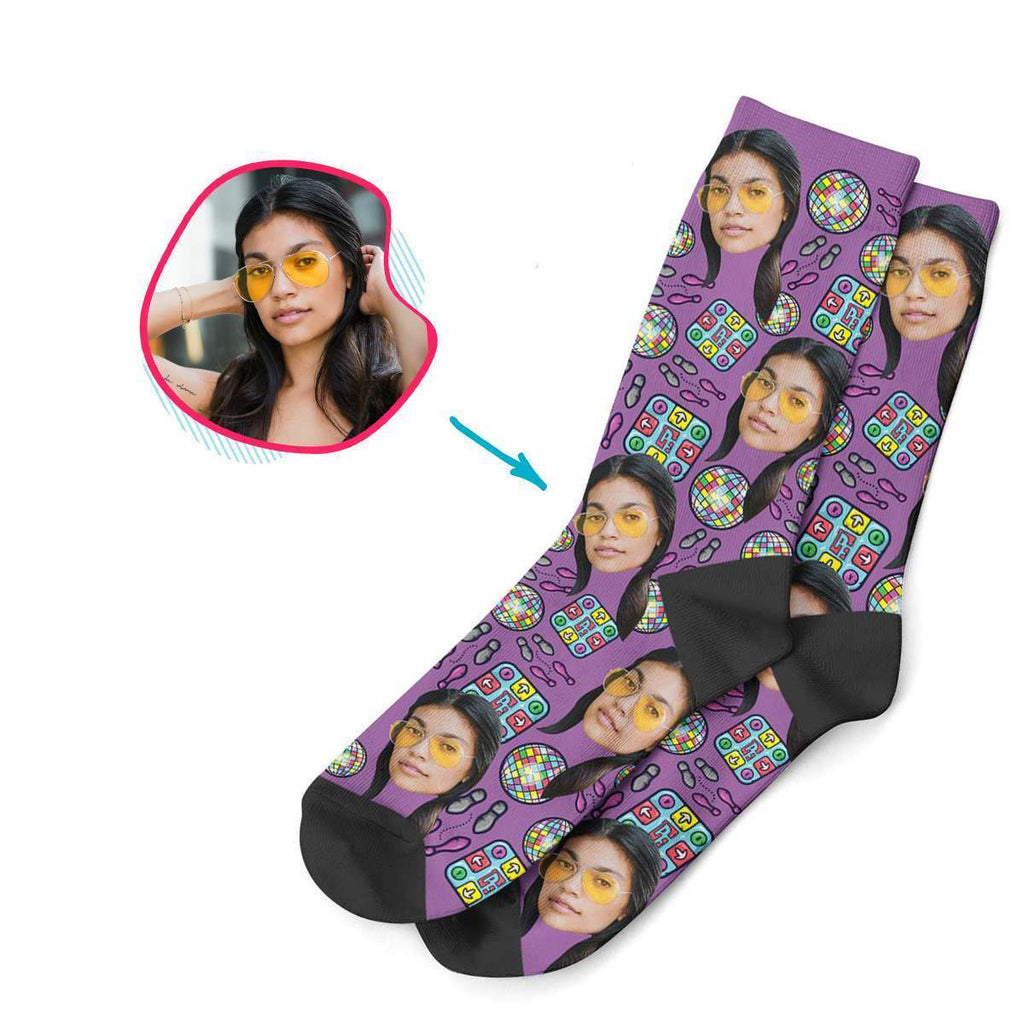 purple Dancing socks personalized with photo of face printed on them