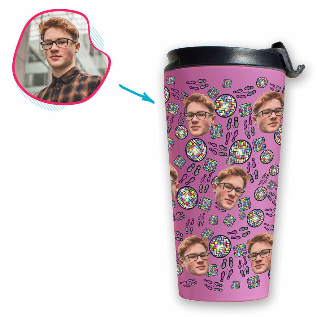 pink Dancing travel mug personalized with photo of face printed on it