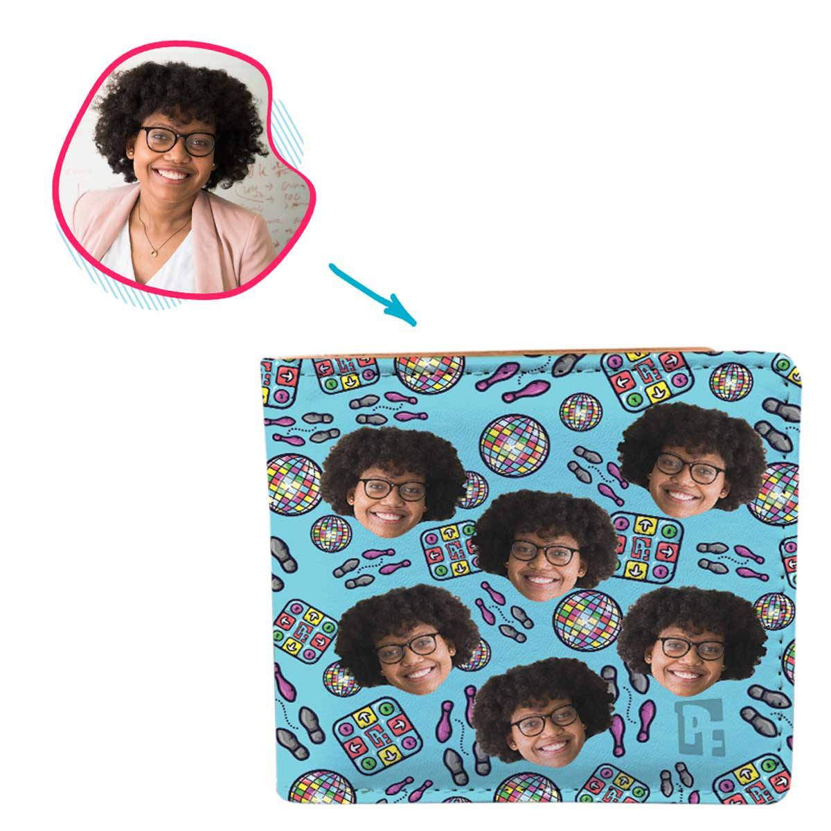 blue Dancing wallet personalized with photo of face printed on it