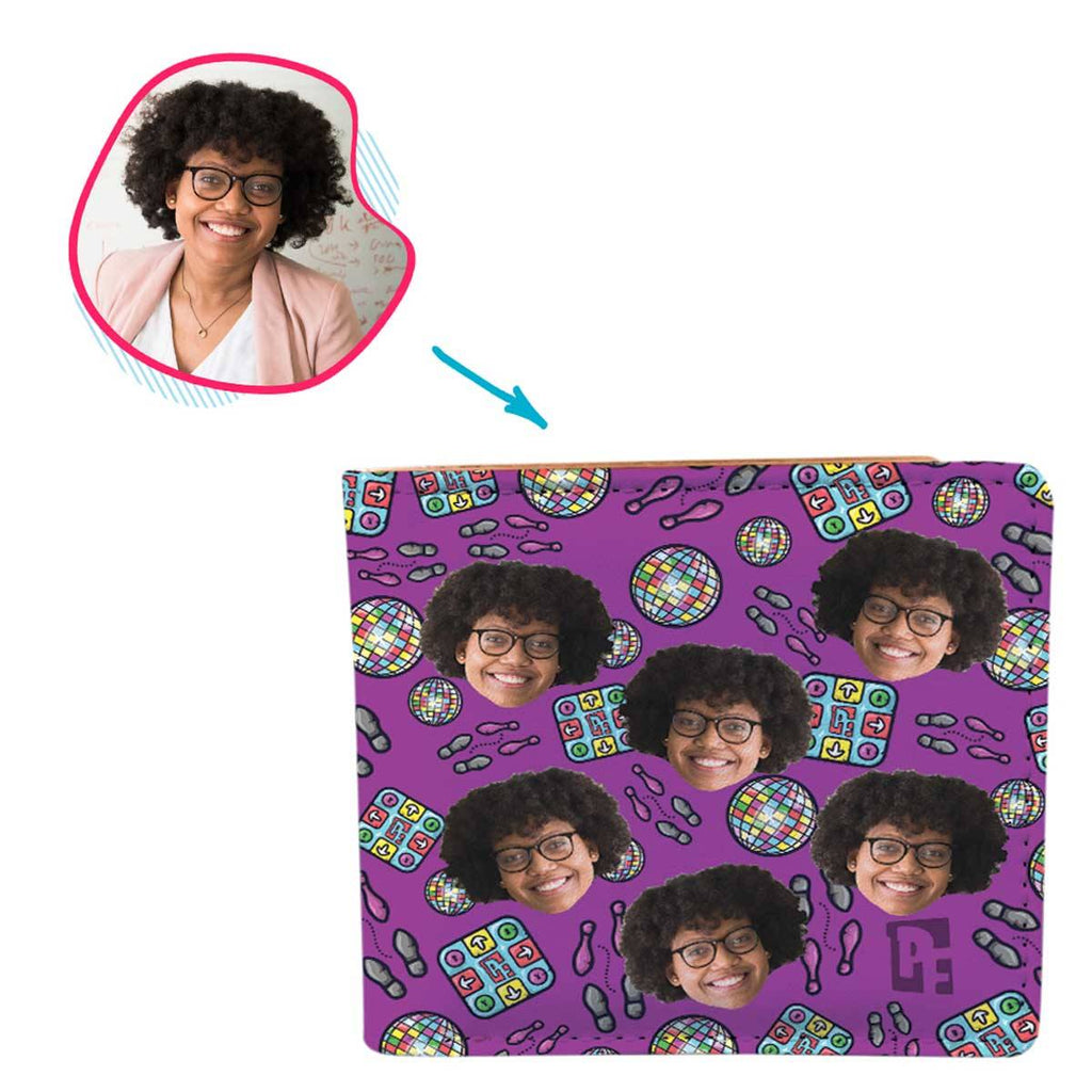 purple Dancing wallet personalized with photo of face printed on it