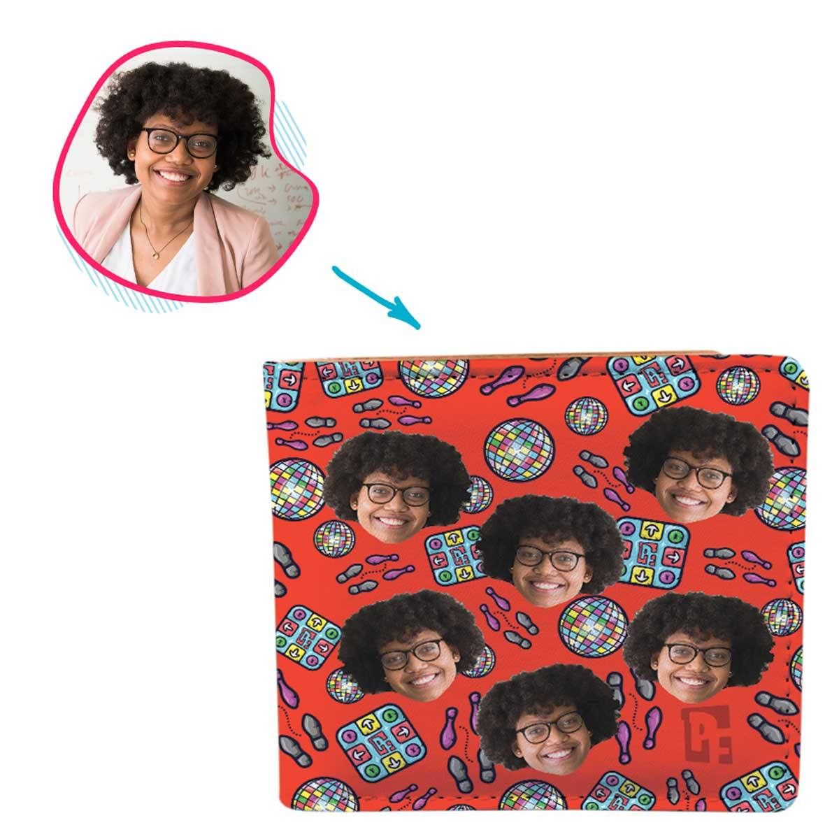 red Dancing wallet personalized with photo of face printed on it