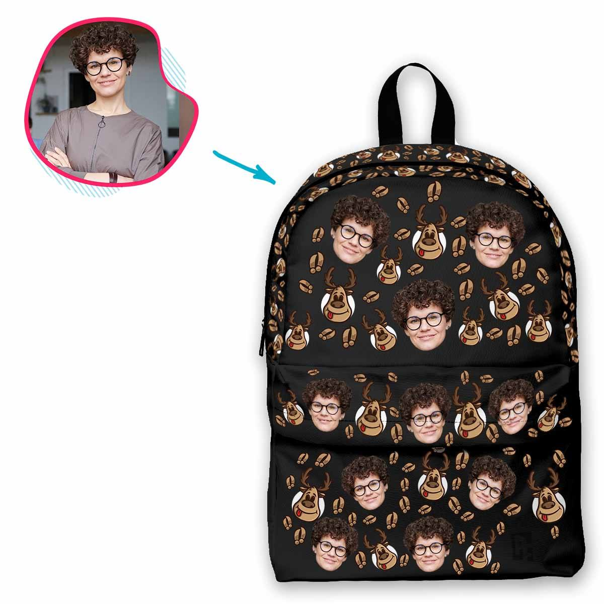 dark Deer Hunter classic backpack personalized with photo of face printed on it
