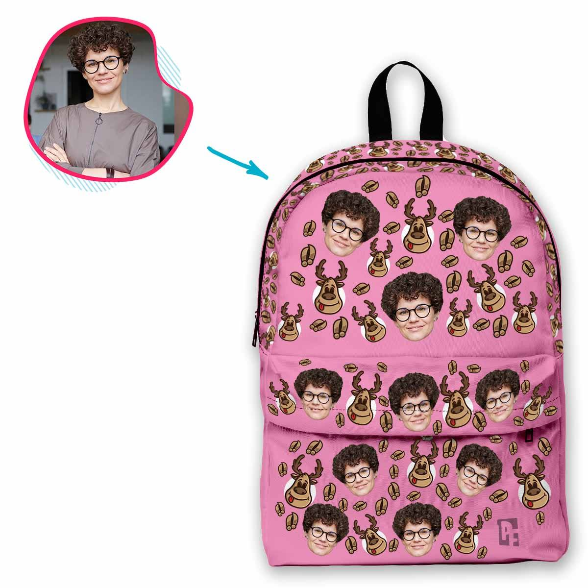 pink Deer Hunter classic backpack personalized with photo of face printed on it