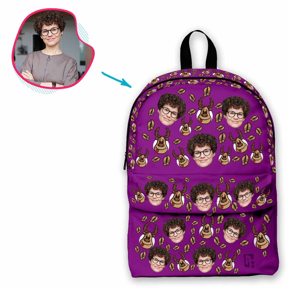 purple Deer Hunter classic backpack personalized with photo of face printed on it