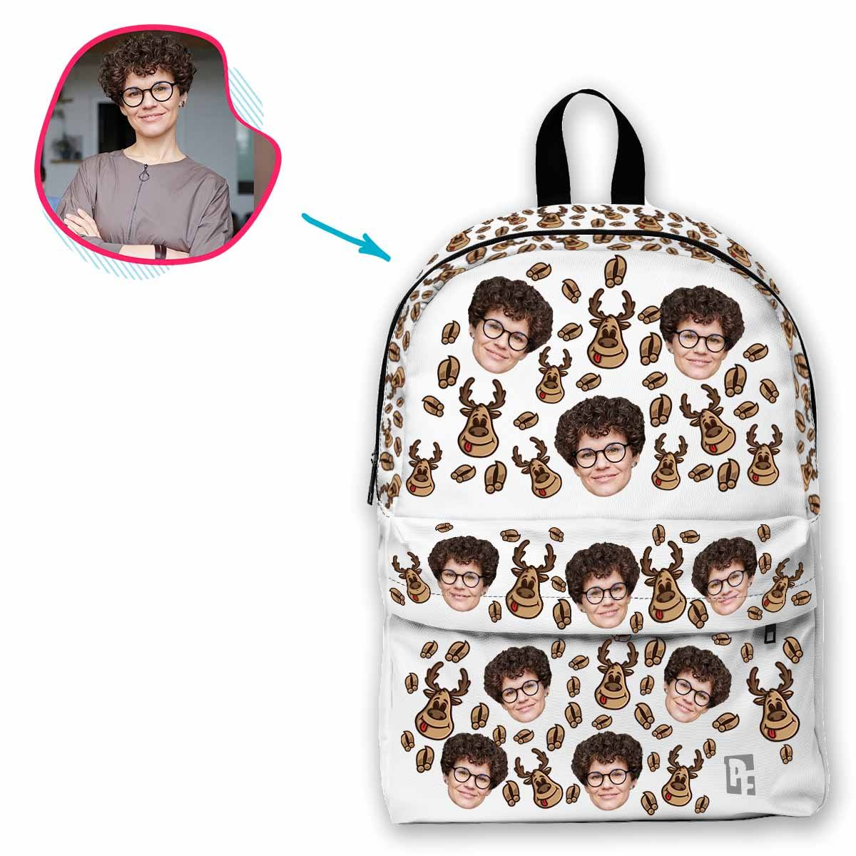white Deer Hunter classic backpack personalized with photo of face printed on it
