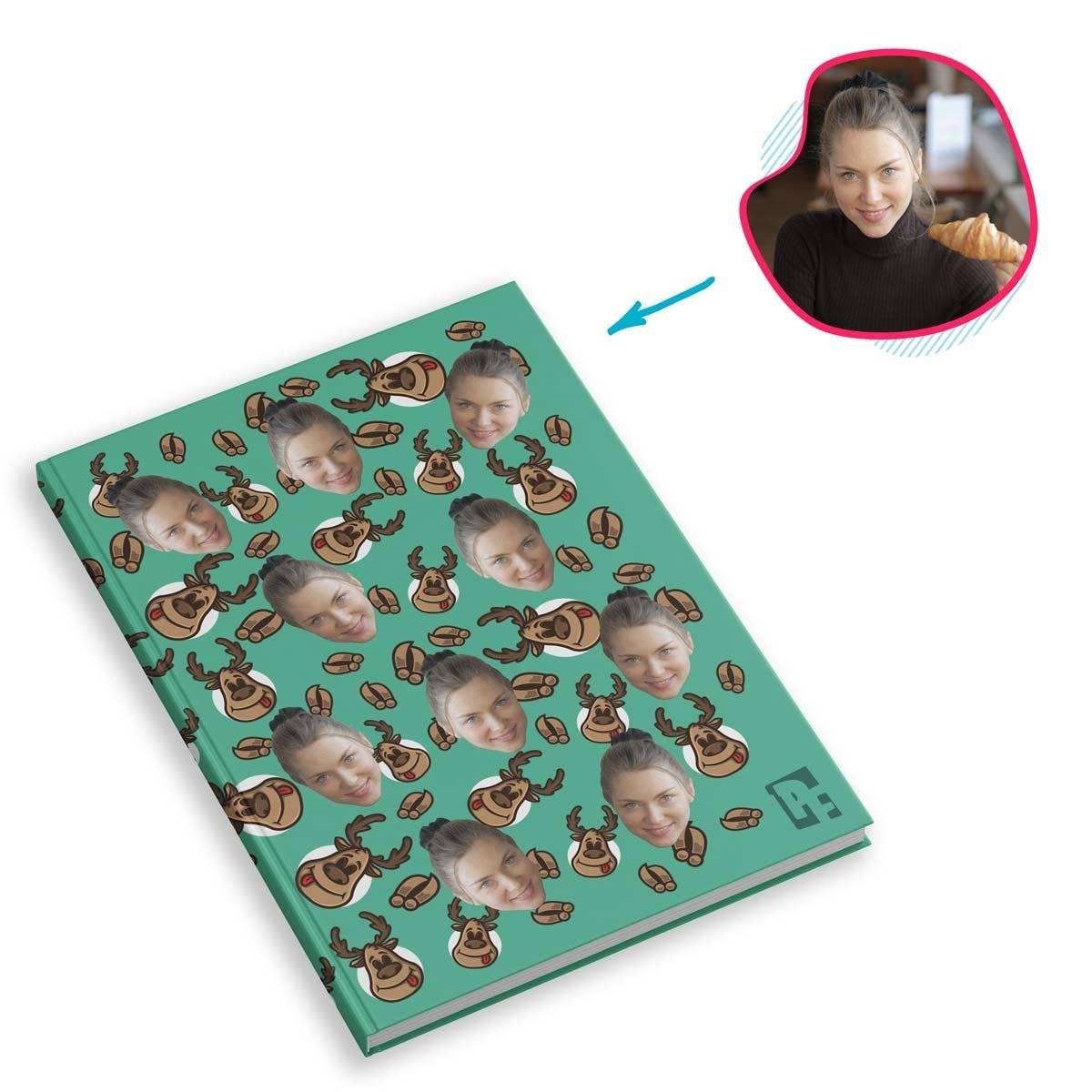 mint Deer Hunter Notebook personalized with photo of face printed on them