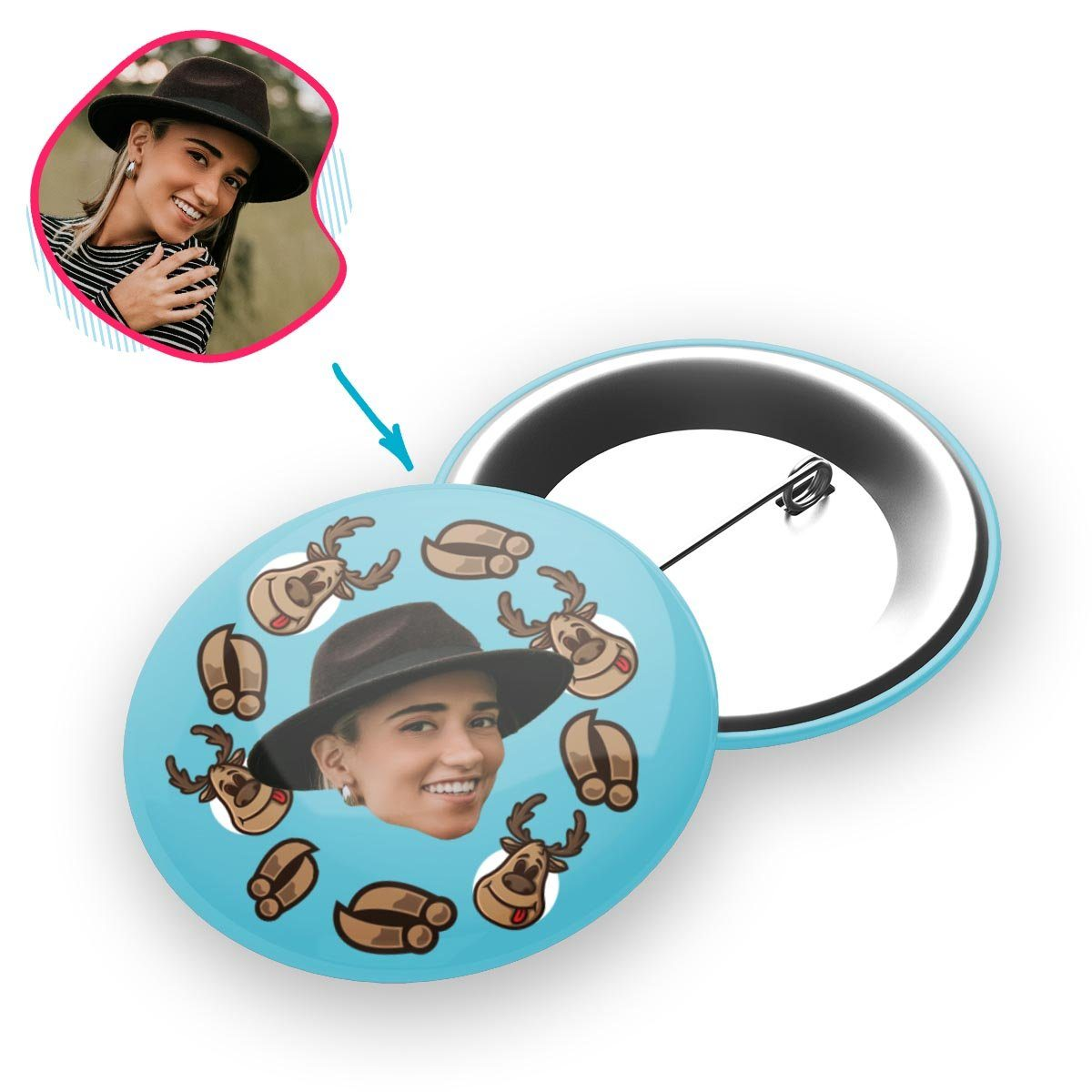 blue Deer Hunter pin personalized with photo of face printed on it