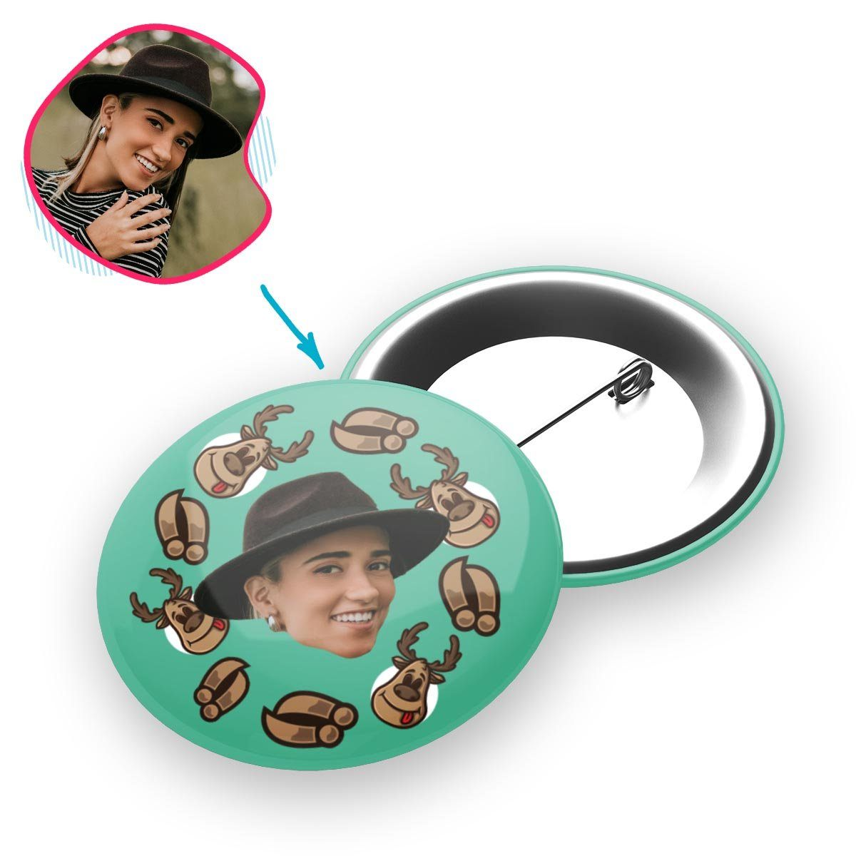 mint Deer Hunter pin personalized with photo of face printed on it