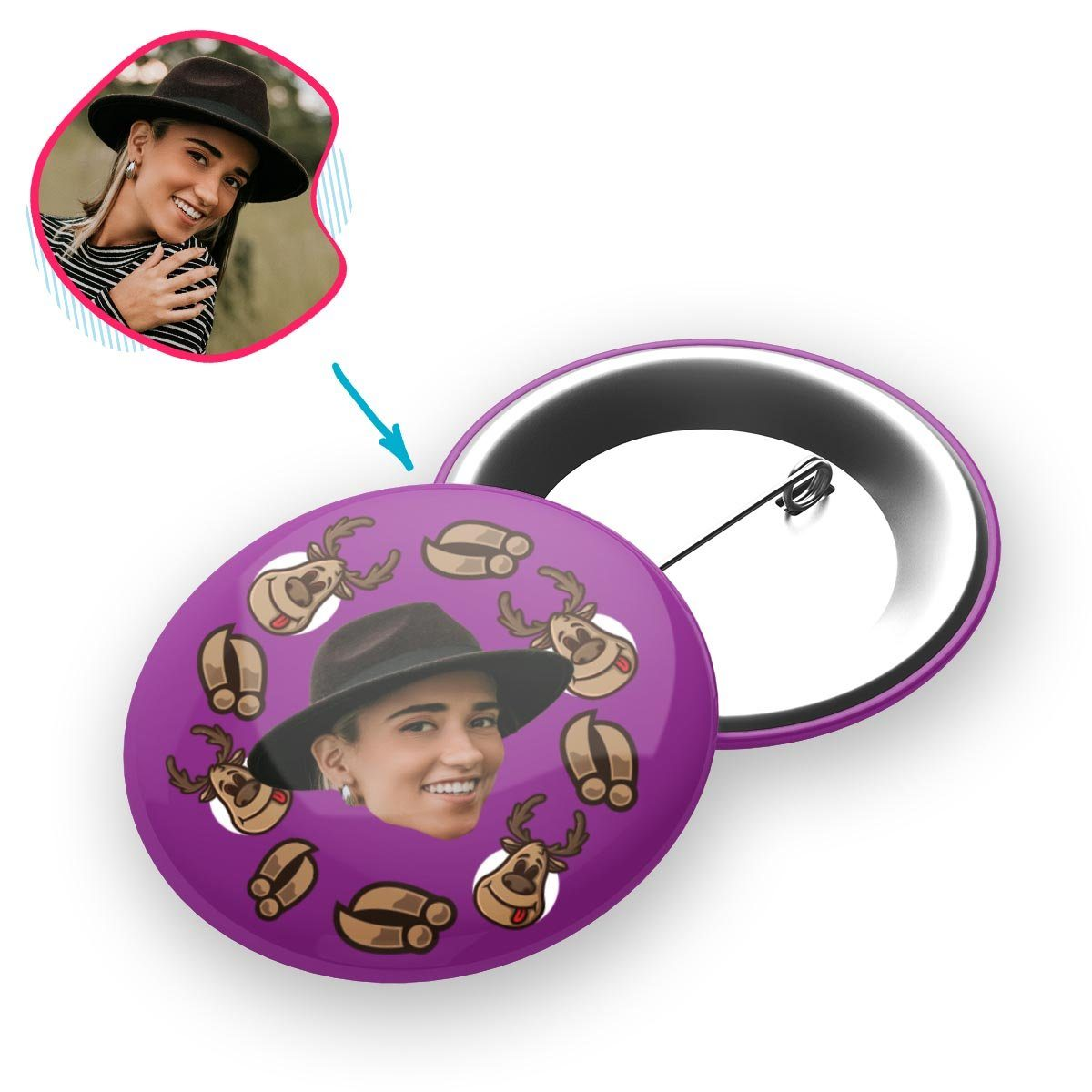 purple Deer Hunter pin personalized with photo of face printed on it
