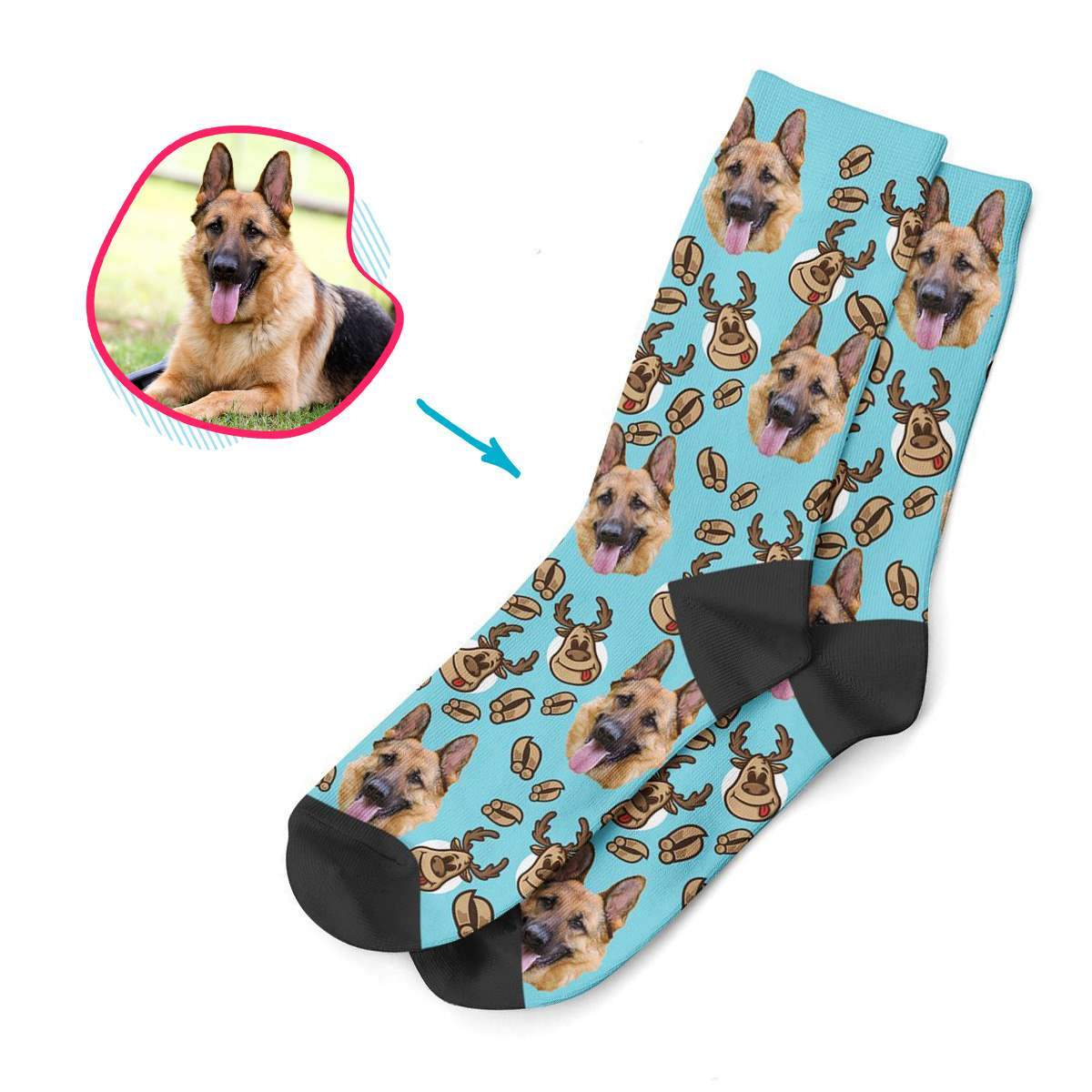 blue Deer Hunter socks personalized with photo of face printed on them