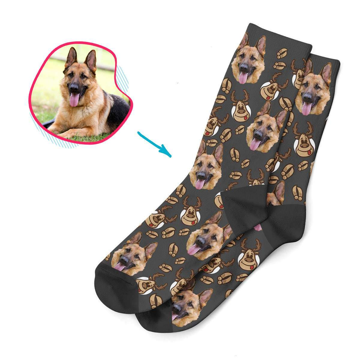 dark Deer Hunter socks personalized with photo of face printed on them
