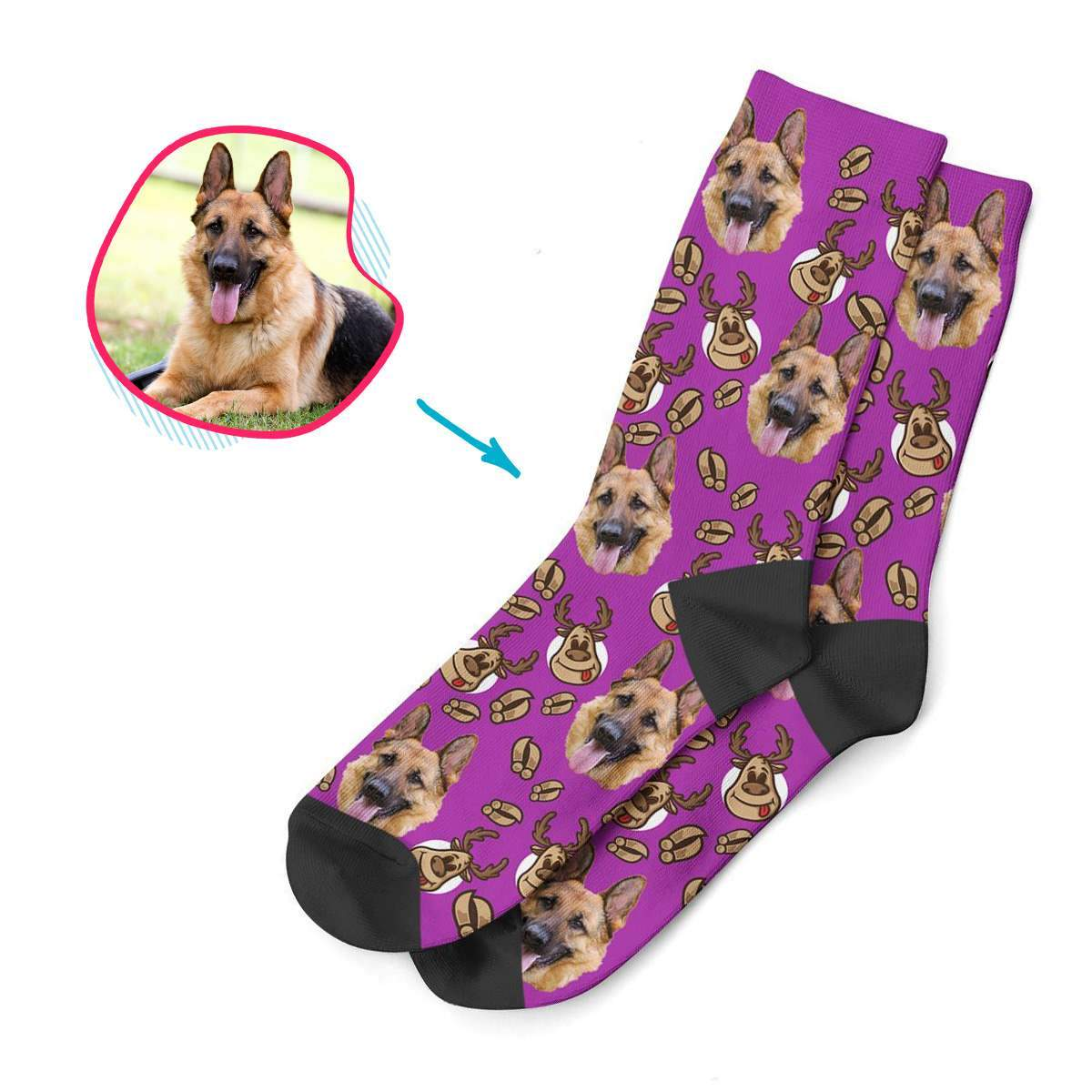 purple Deer Hunter socks personalized with photo of face printed on them