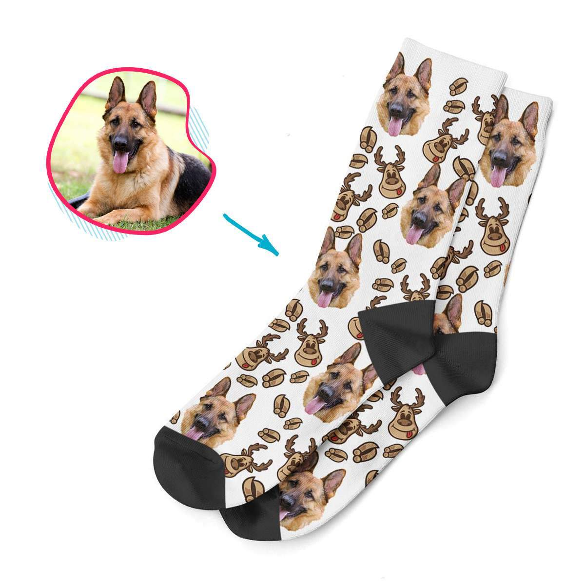 white Deer Hunter socks personalized with photo of face printed on them
