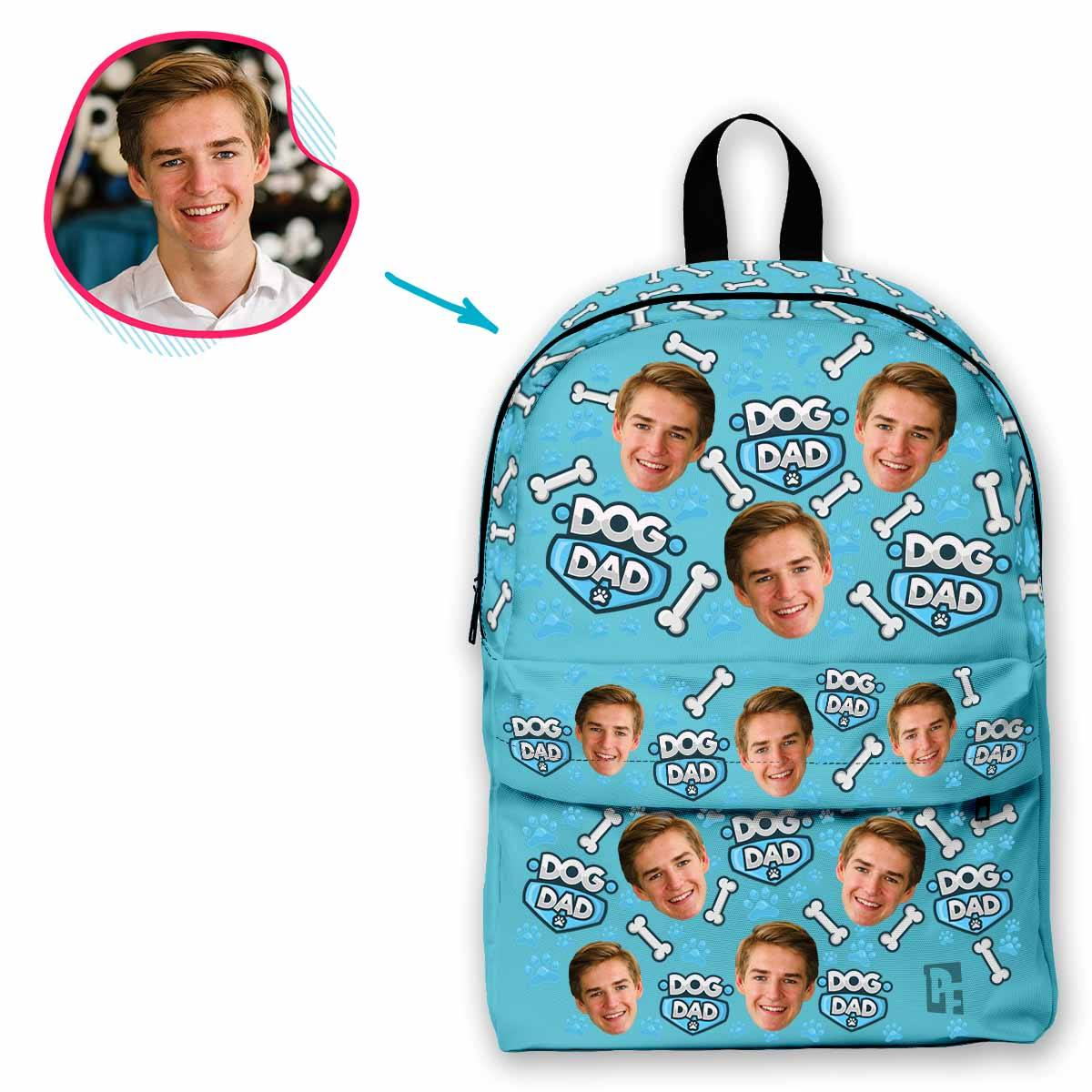 blue Dog Dad classic backpack personalized with photo of face printed on it