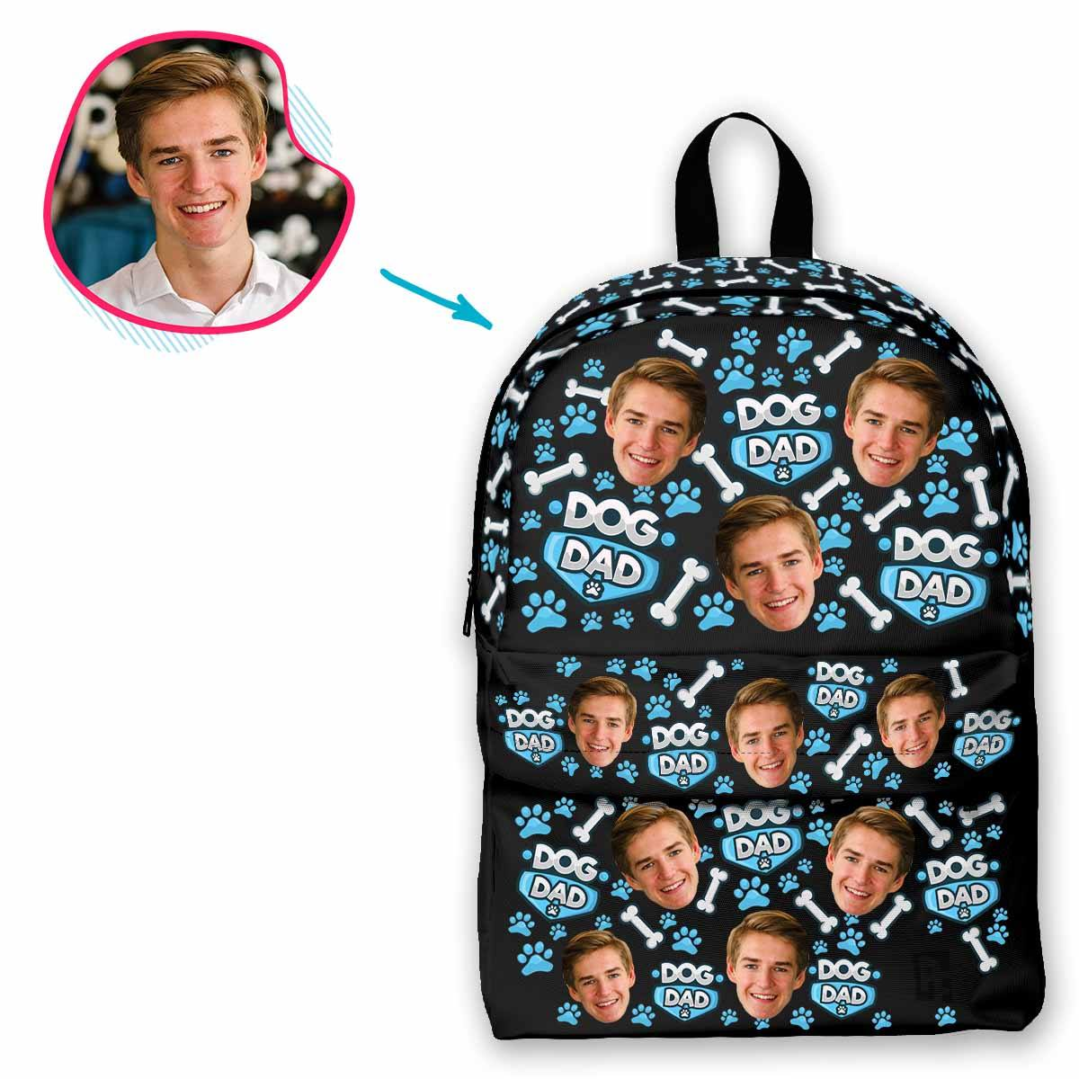 dark Dog Dad classic backpack personalized with photo of face printed on it