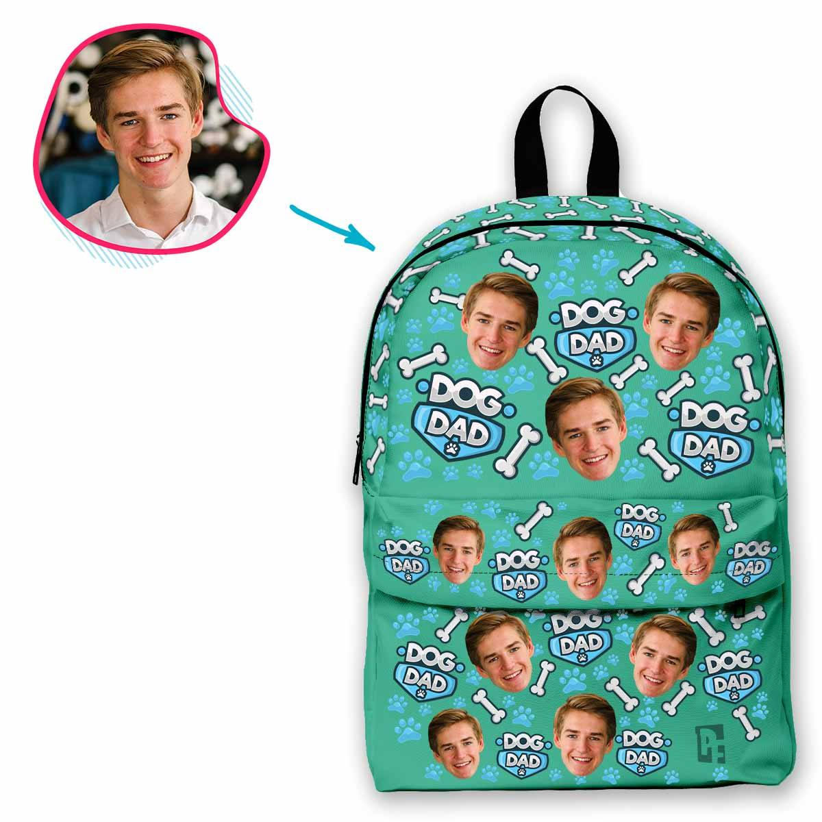 mint Dog Dad classic backpack personalized with photo of face printed on it