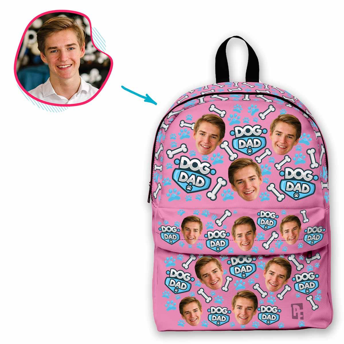 pink Dog Dad classic backpack personalized with photo of face printed on it