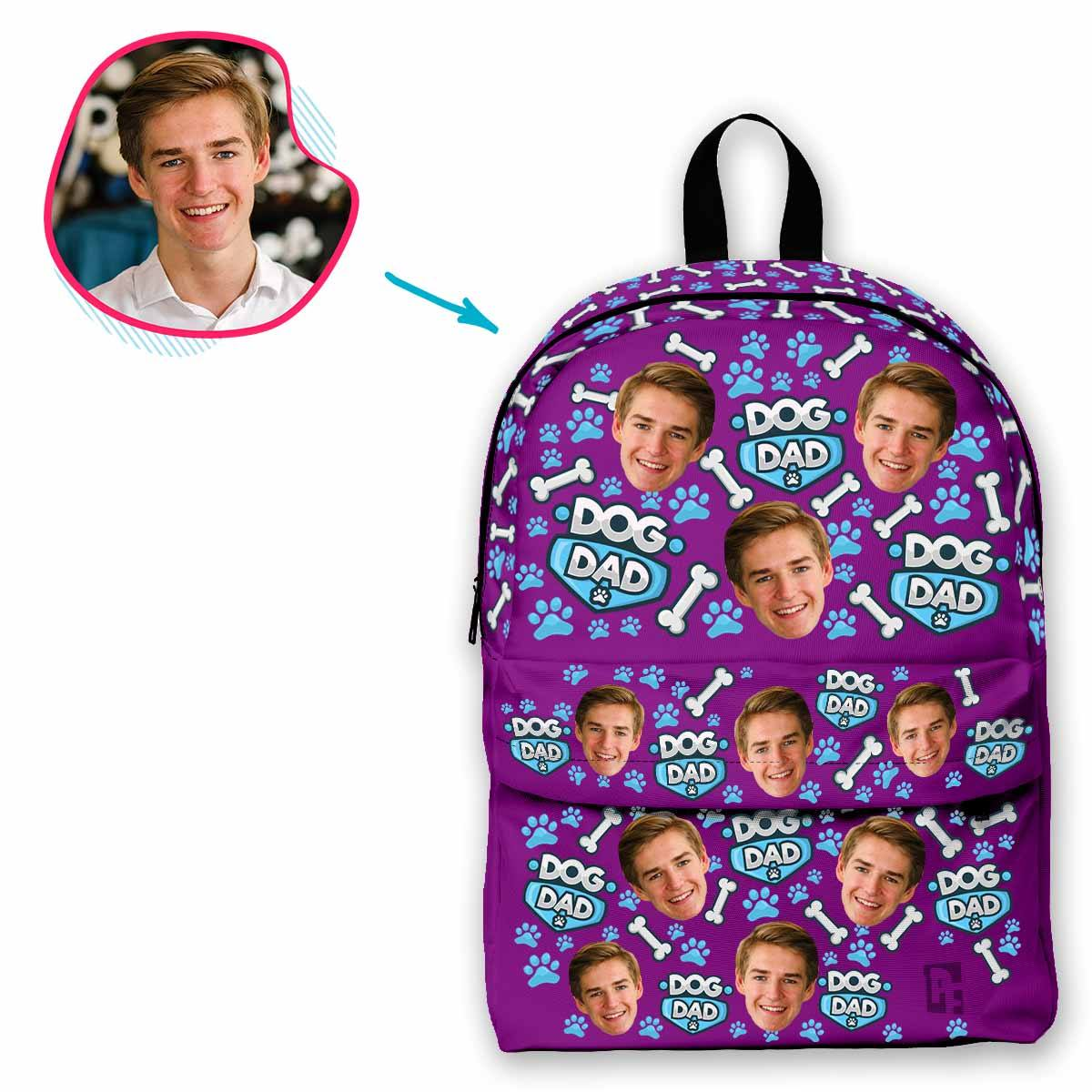 purple Dog Dad classic backpack personalized with photo of face printed on it