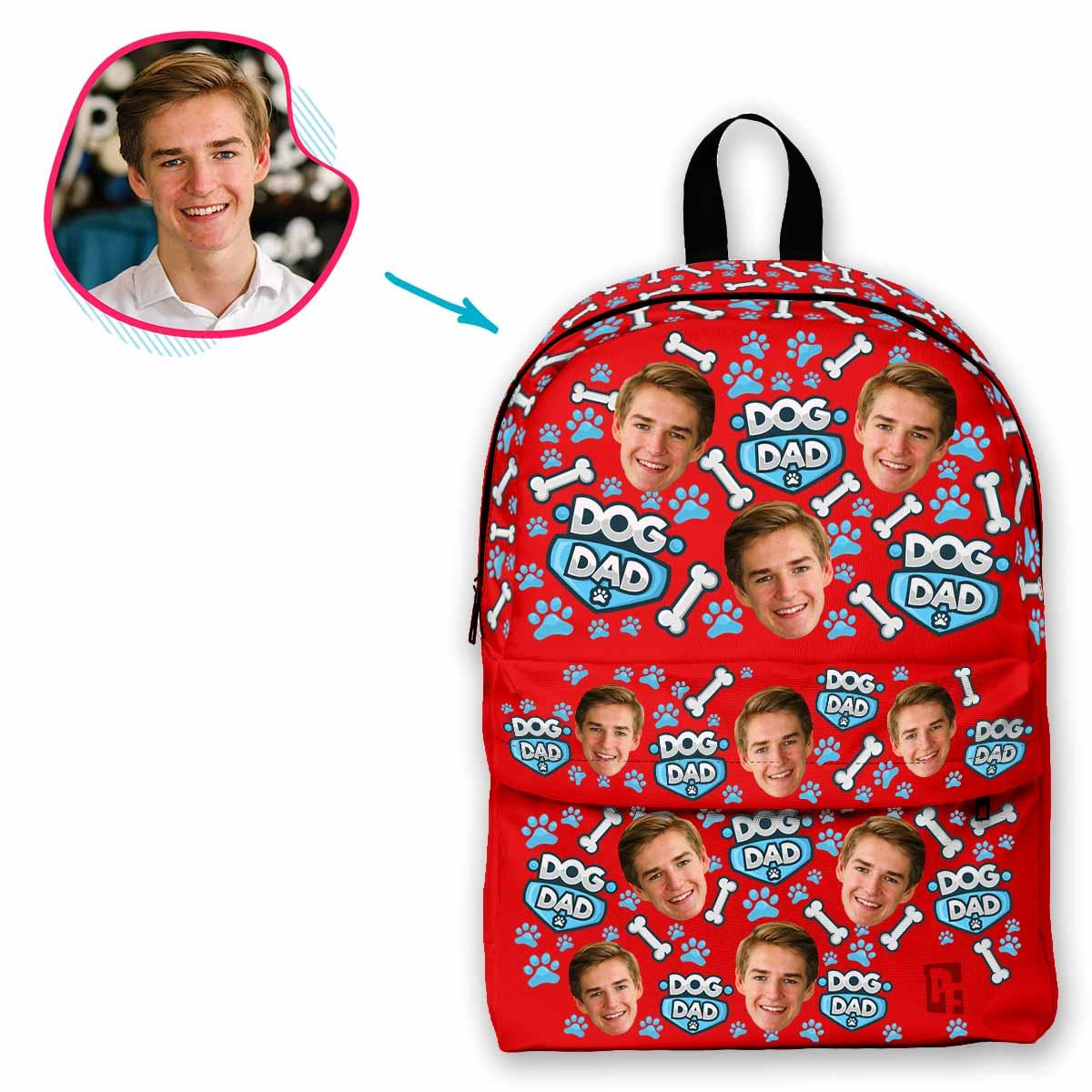 red Dog Dad classic backpack personalized with photo of face printed on it