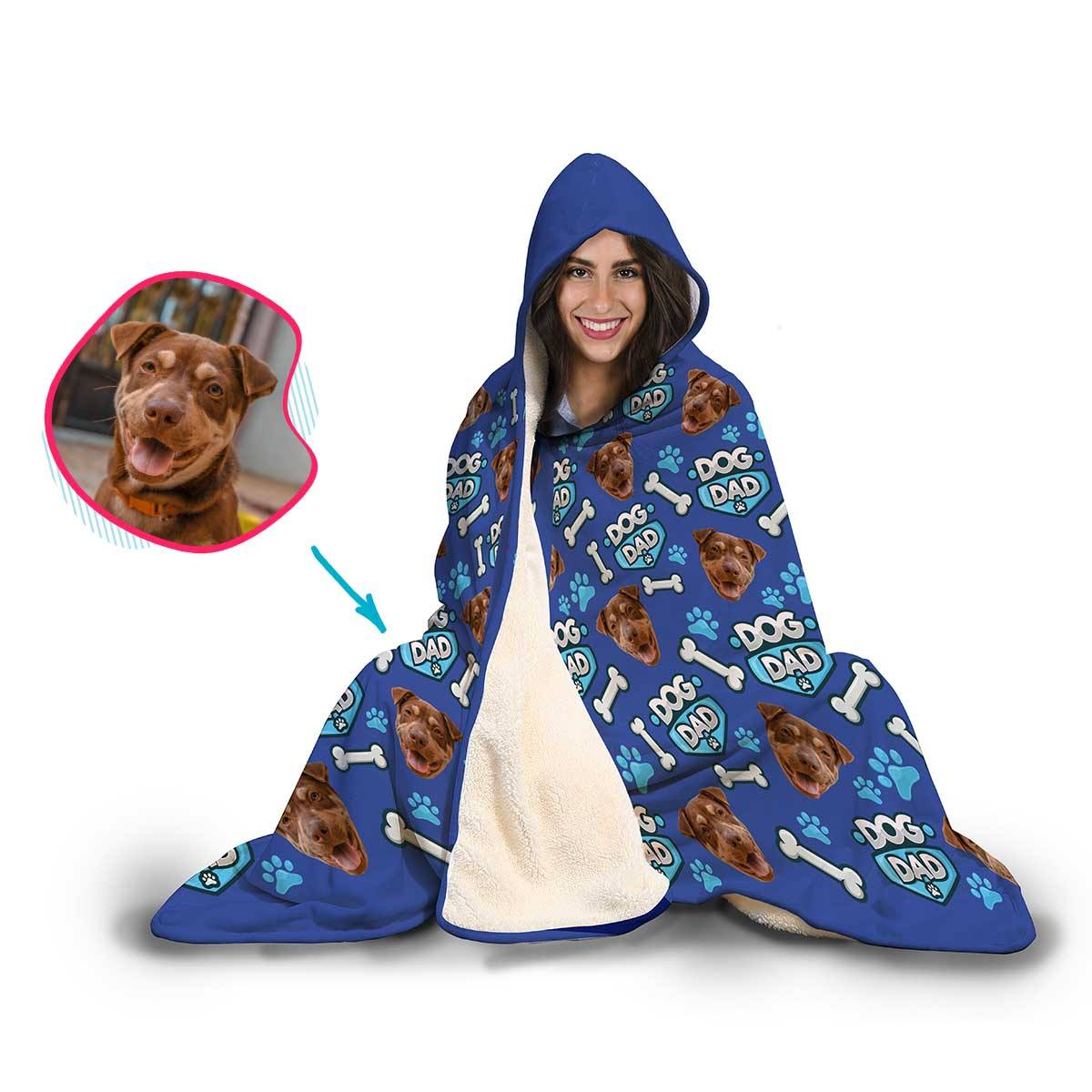 Dog Dad Personalized Hooded Blanket