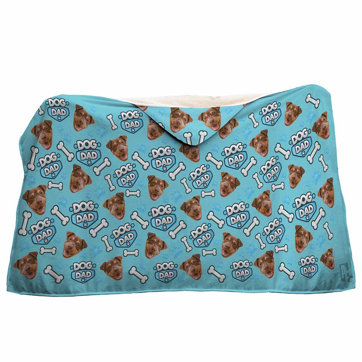 blue Dog Dad hooded blanket personalized with photo of face printed on it