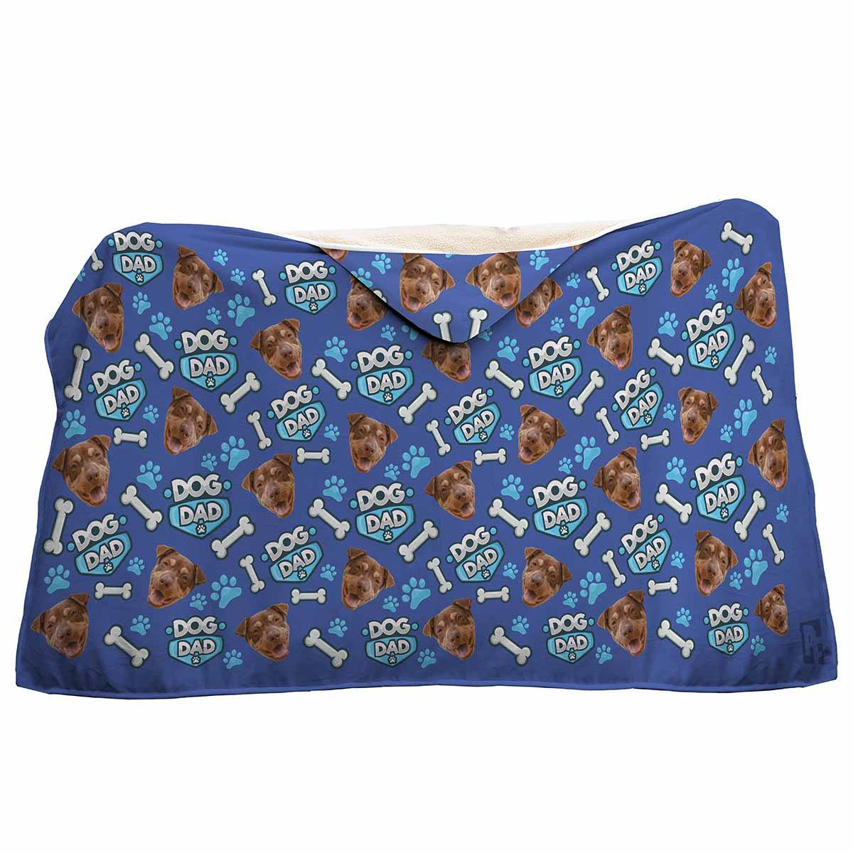 darkblue Dog Dad hooded blanket personalized with photo of face printed on it