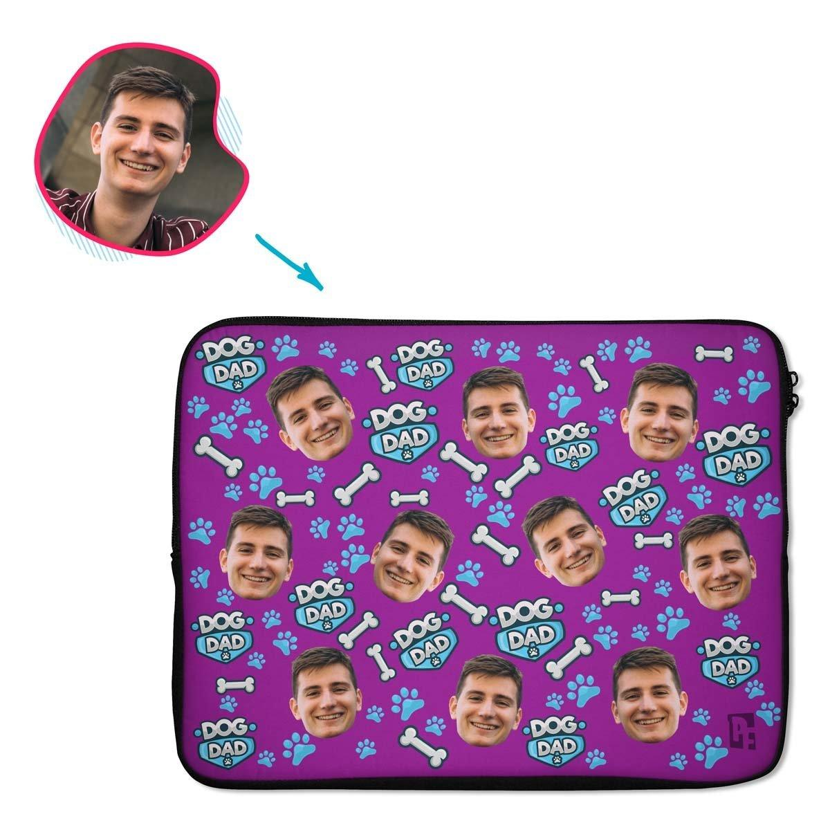 purple Dog Dad laptop sleeve personalized with photo of face printed on them